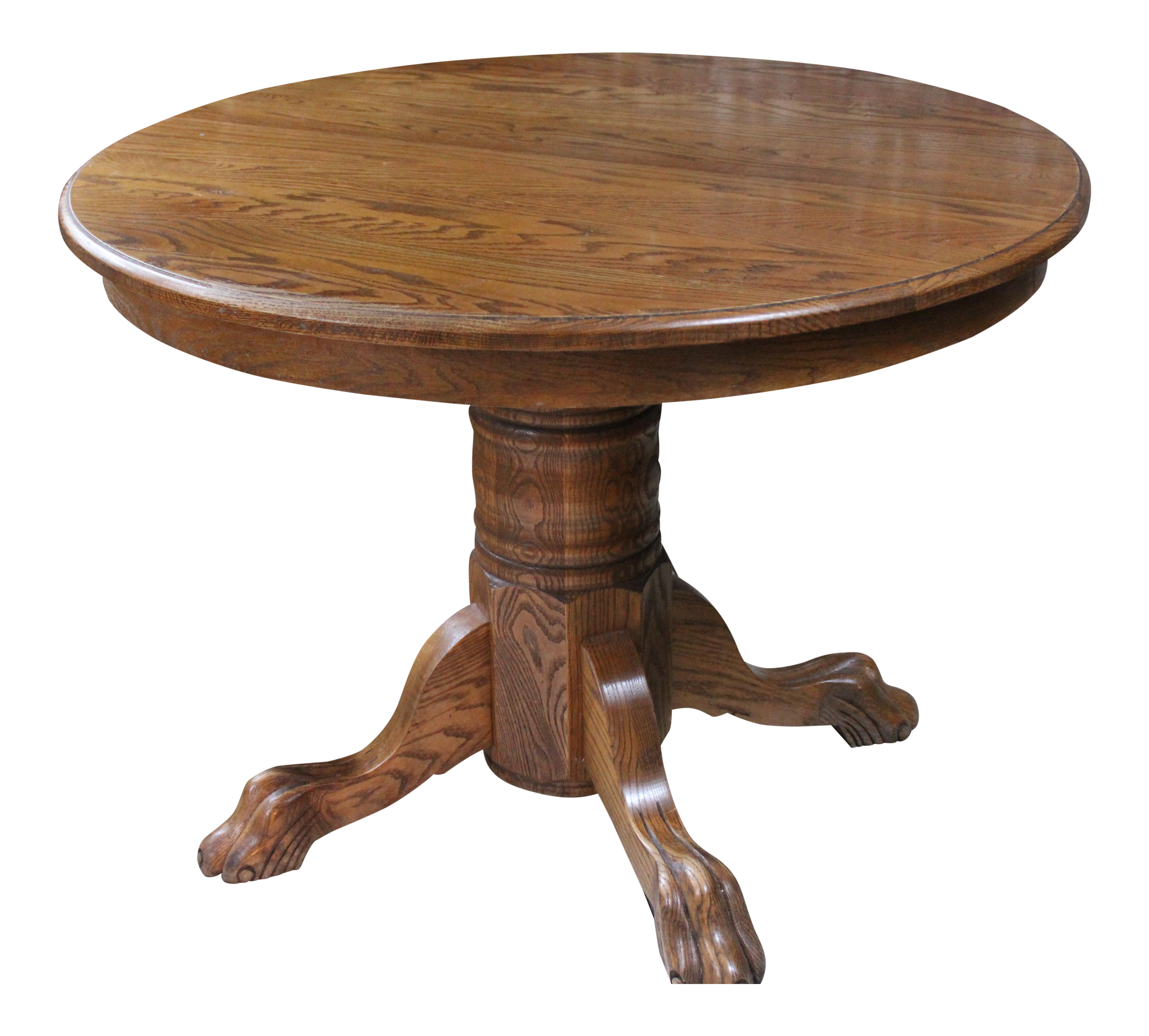 Vintage oak claw foot dining table with two leaves chairish for Table 6 to 16