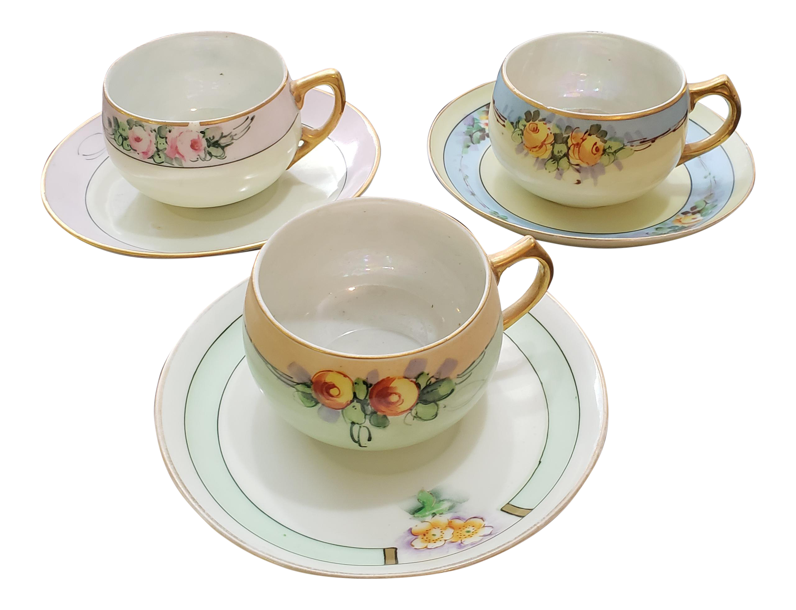 Porcelain Tea Cups And Matching Saucers Set Of 3 Chairish