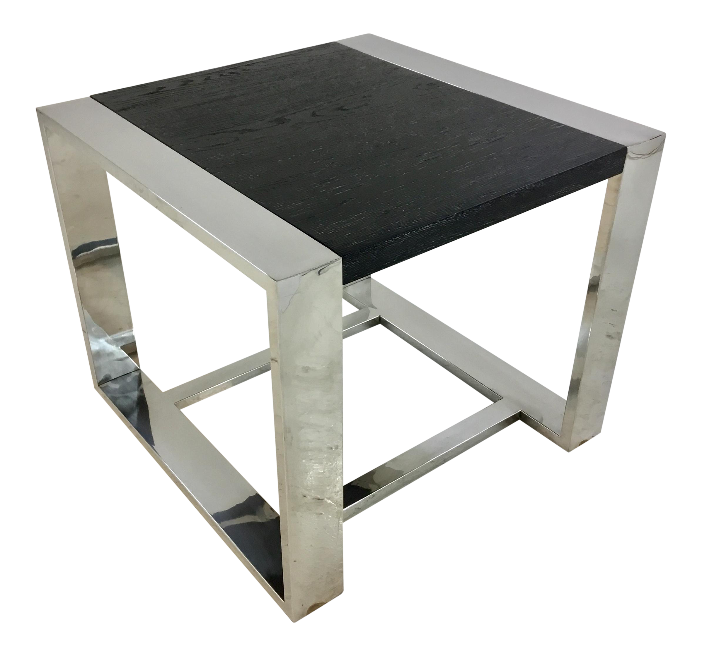new style 8f48f b2b8e Modern Cerused Black Wood and Chrome Side Table