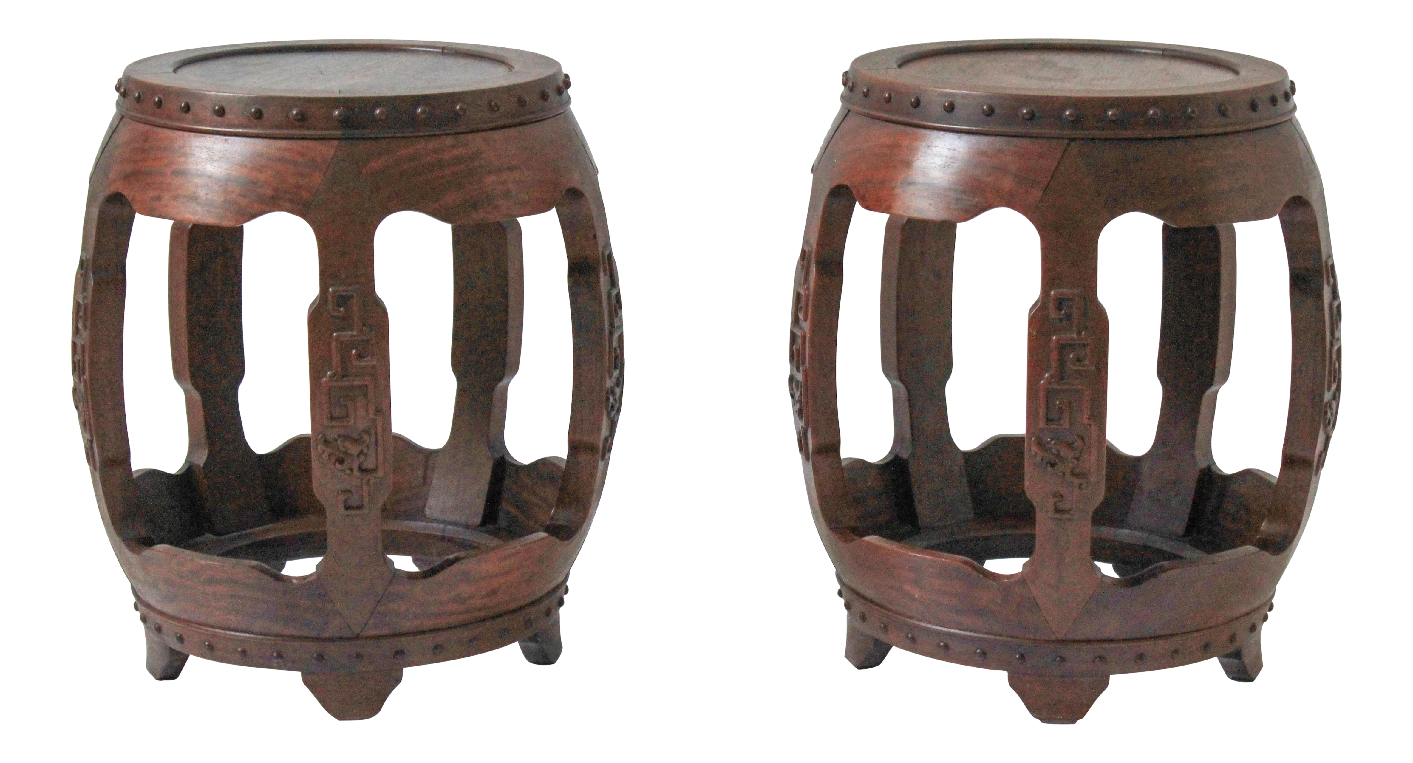 Antique chinese rosewood drum stools a pair chairish