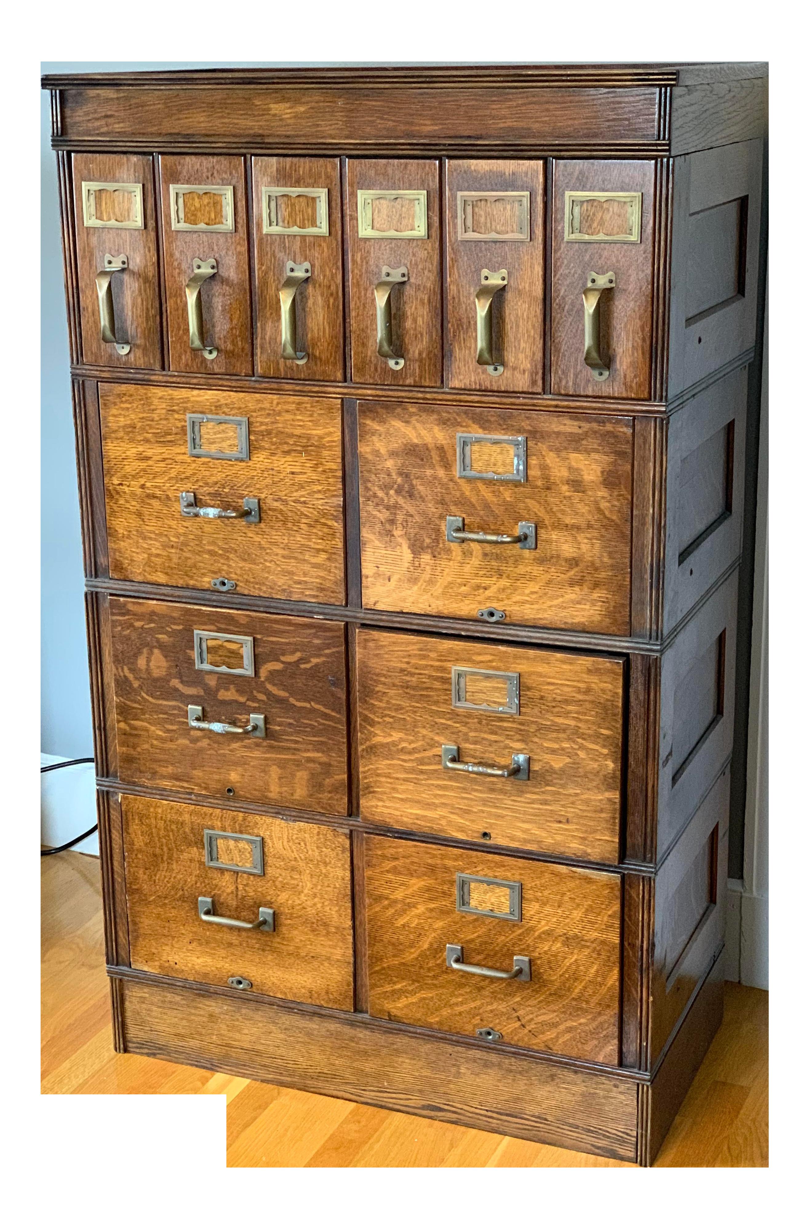 Vintage Oak Modular Stacking File Cabinet Chairish