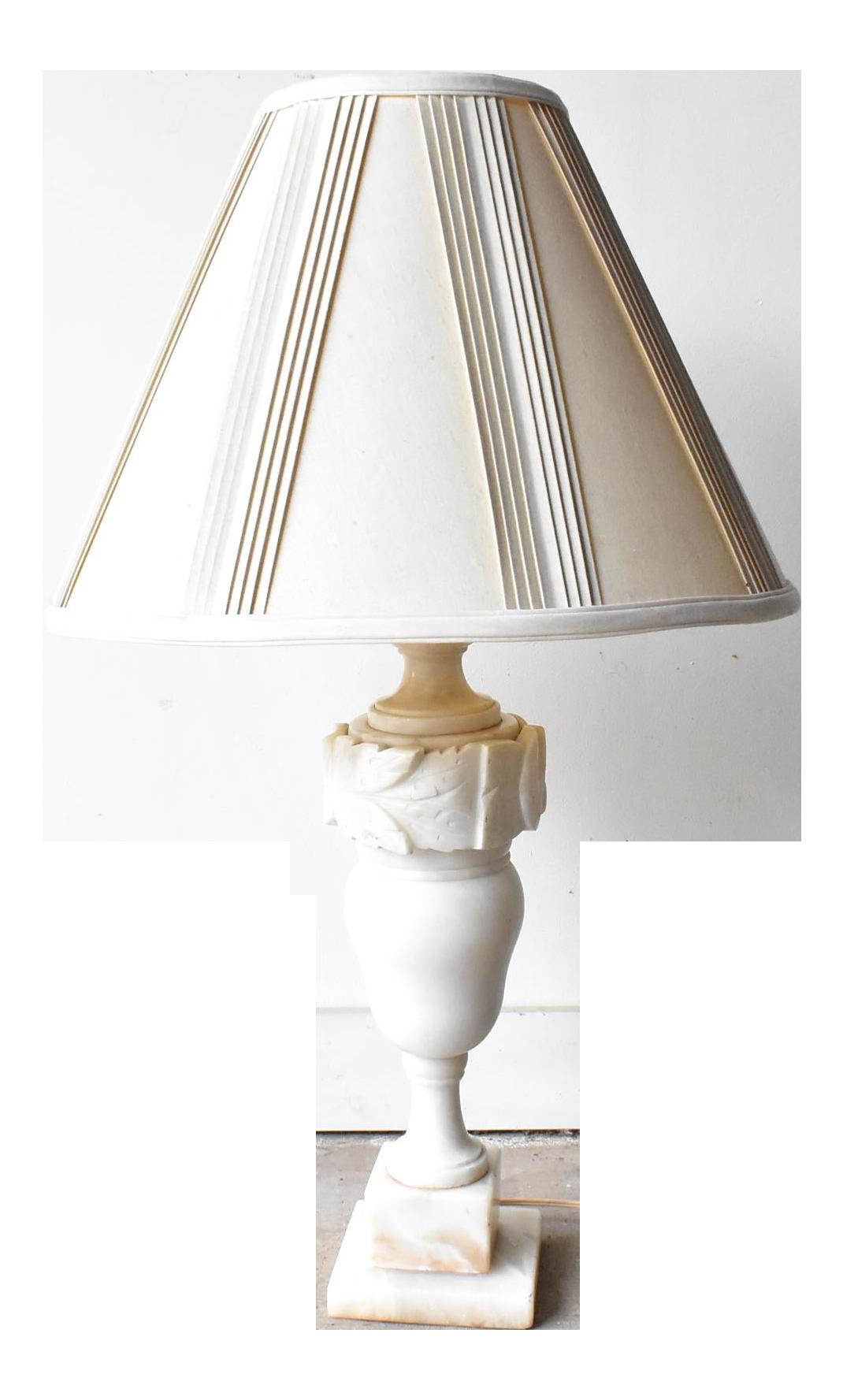 ANTIQUE VINTAGE FRENCH marble alabaster table lamp light