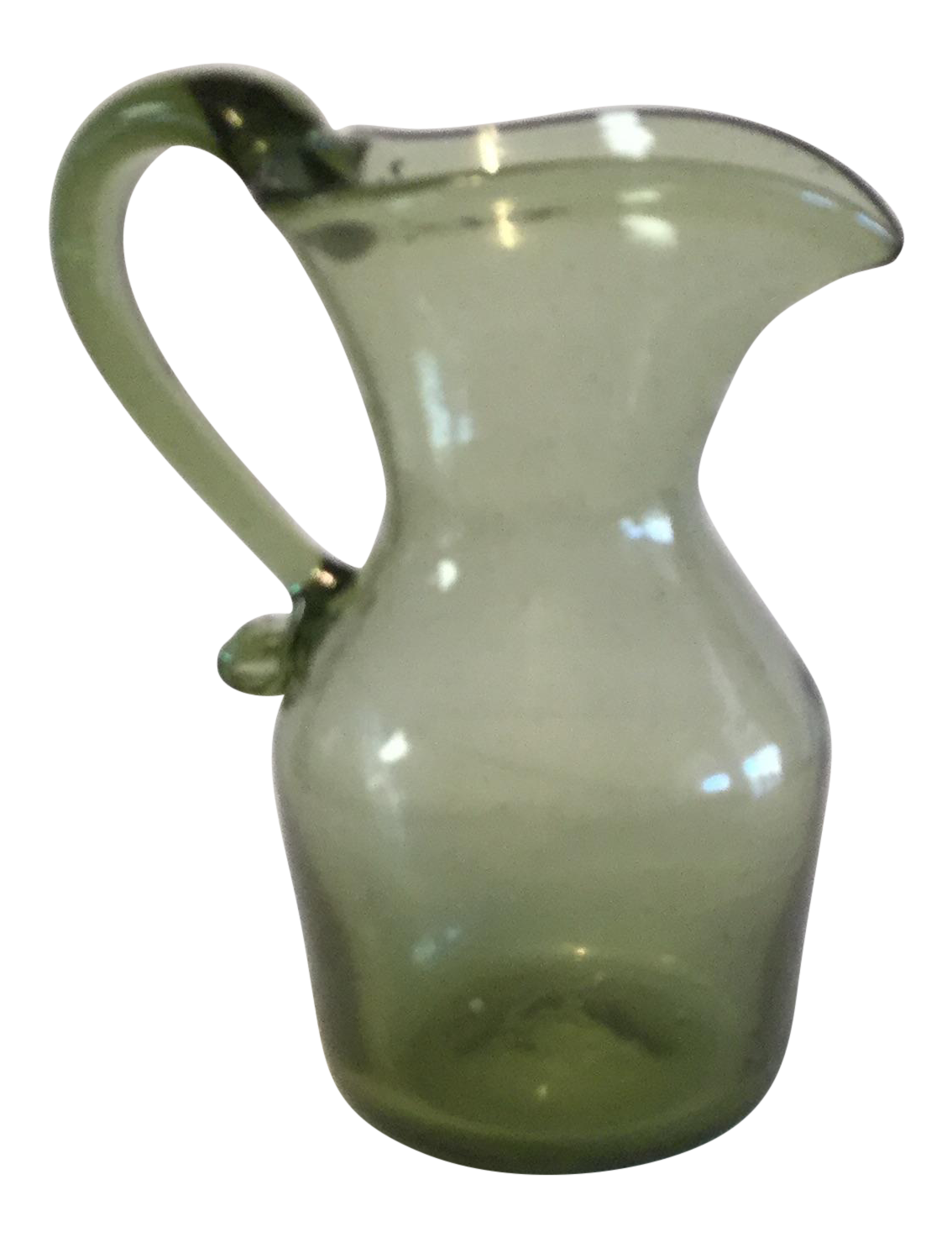 Hand blown green glass pitcher chairish for Kitchen cabinet trends 2018 combined with hand blown glass wall art