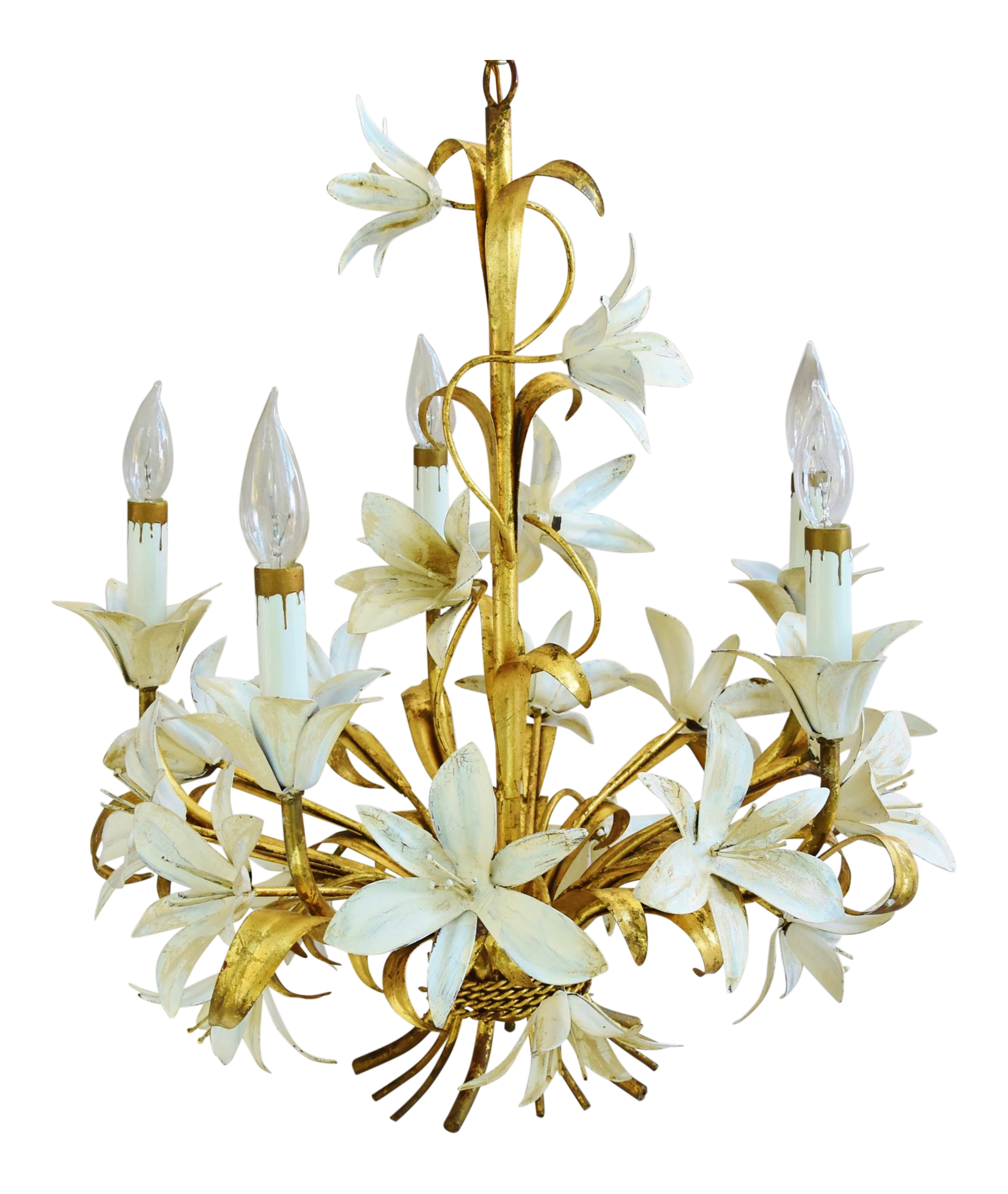 Vintage five armlight italian gold gilt lily tole chandelier chairish arubaitofo Image collections