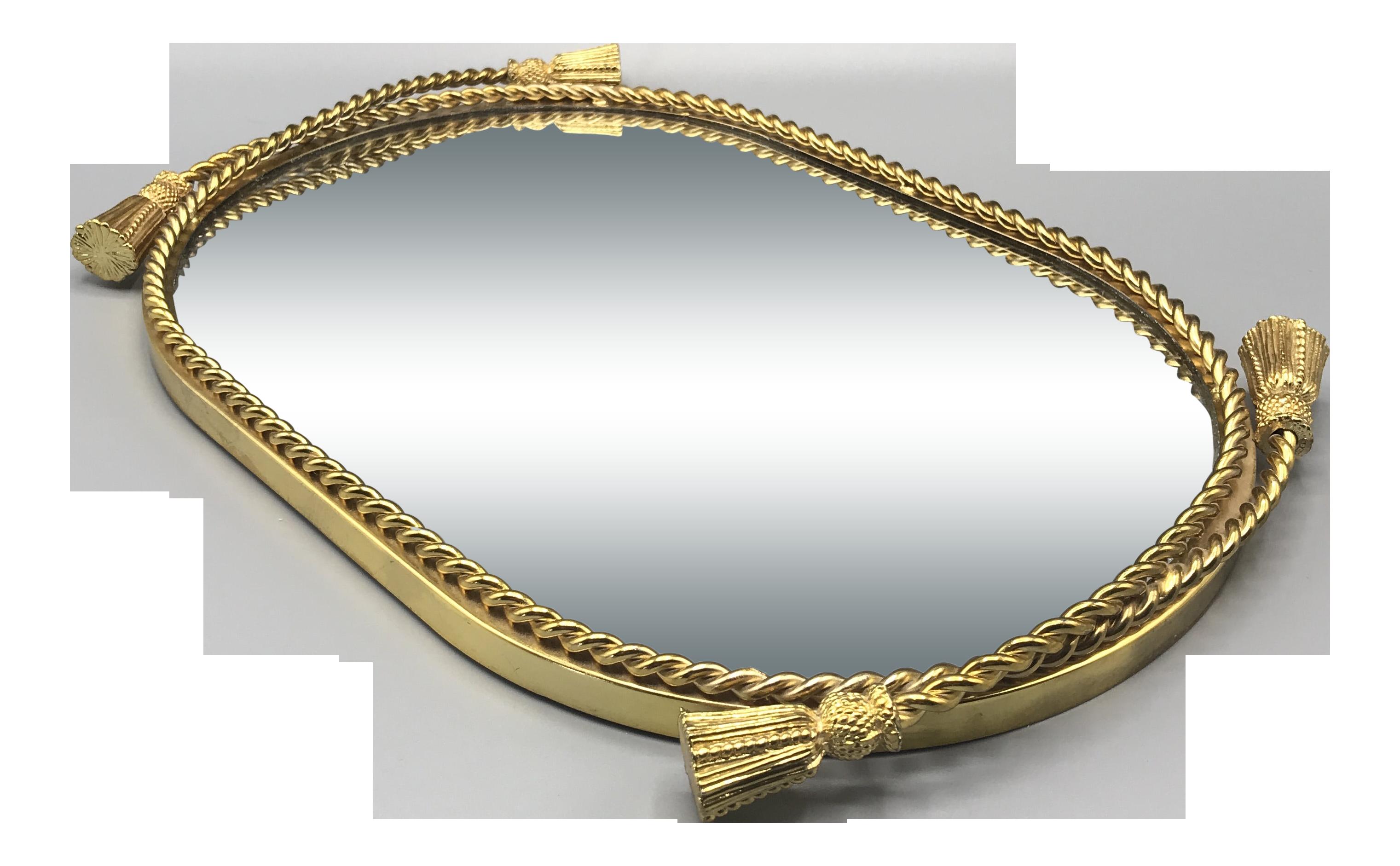 Vintage Godinger Silver Art Company Ltd Gold Tassel Dresser Mirror Tray Chairish
