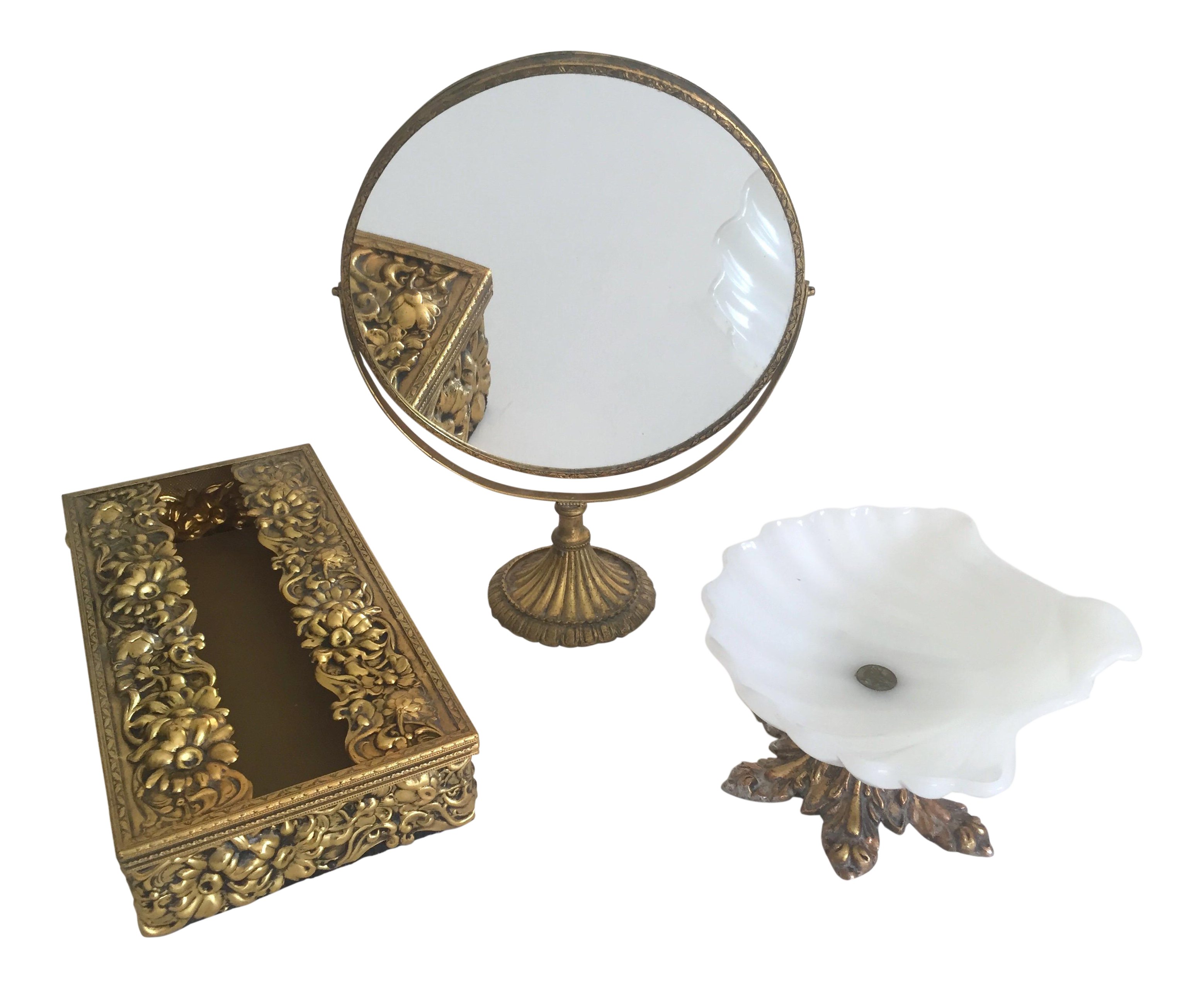 Vintage Mid-Century Hollywood Regency Brass Vanity Accessories - Set ...