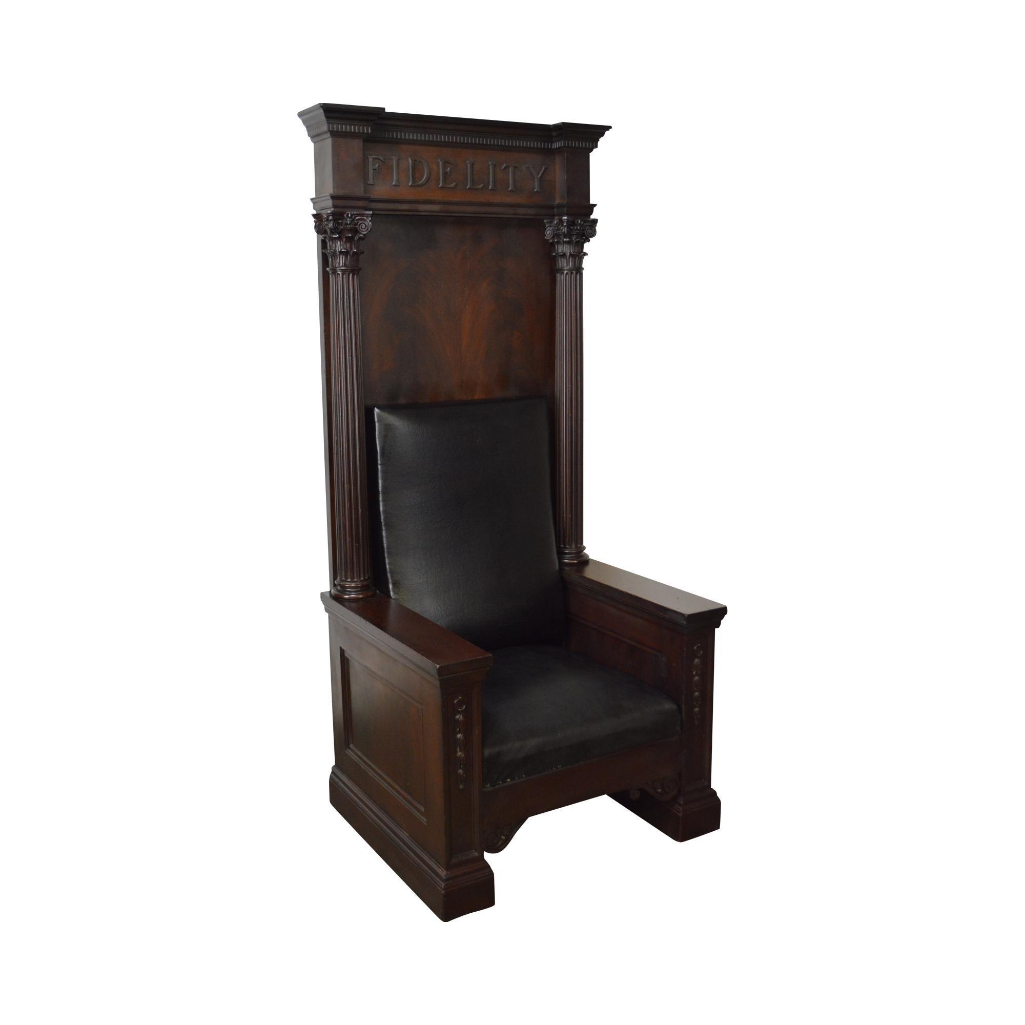 Antique High Back Mahogany Masonic Throne Chair \