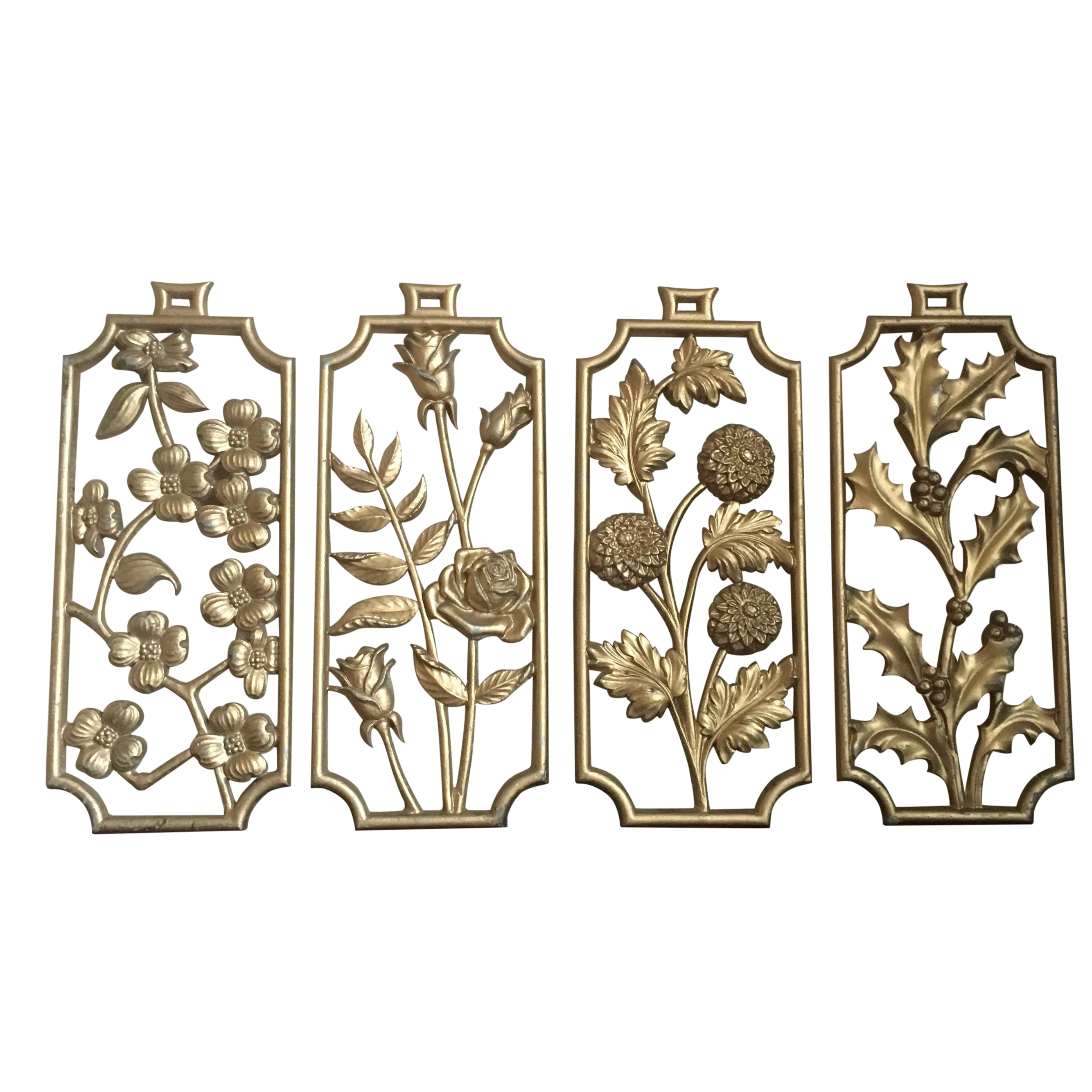 Vintage Sexton Gold Four Seasons Floral Wall Decor Chairish