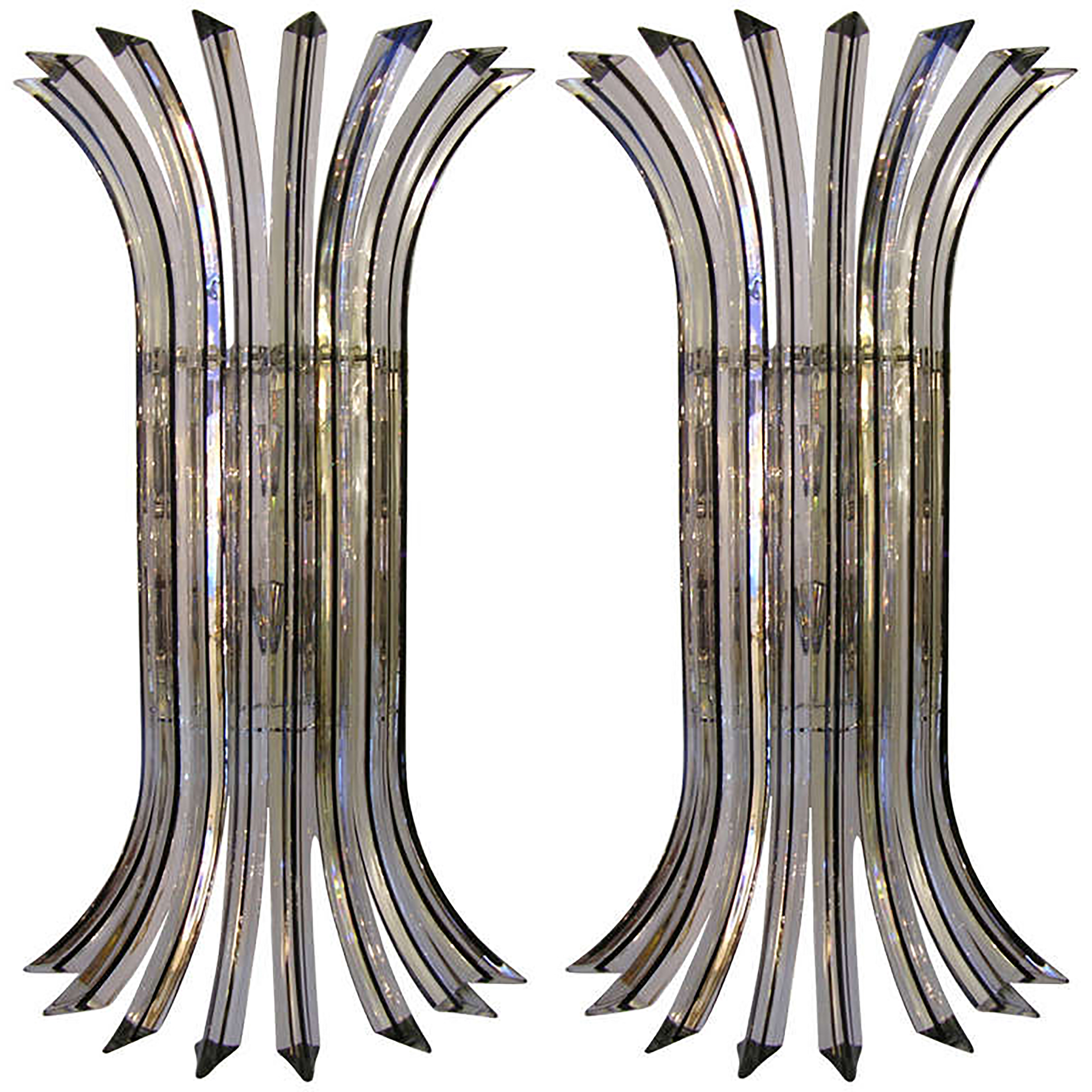 Italian Clear Glass Driveway: Italian Clear Murano Glass Sconces - Pair