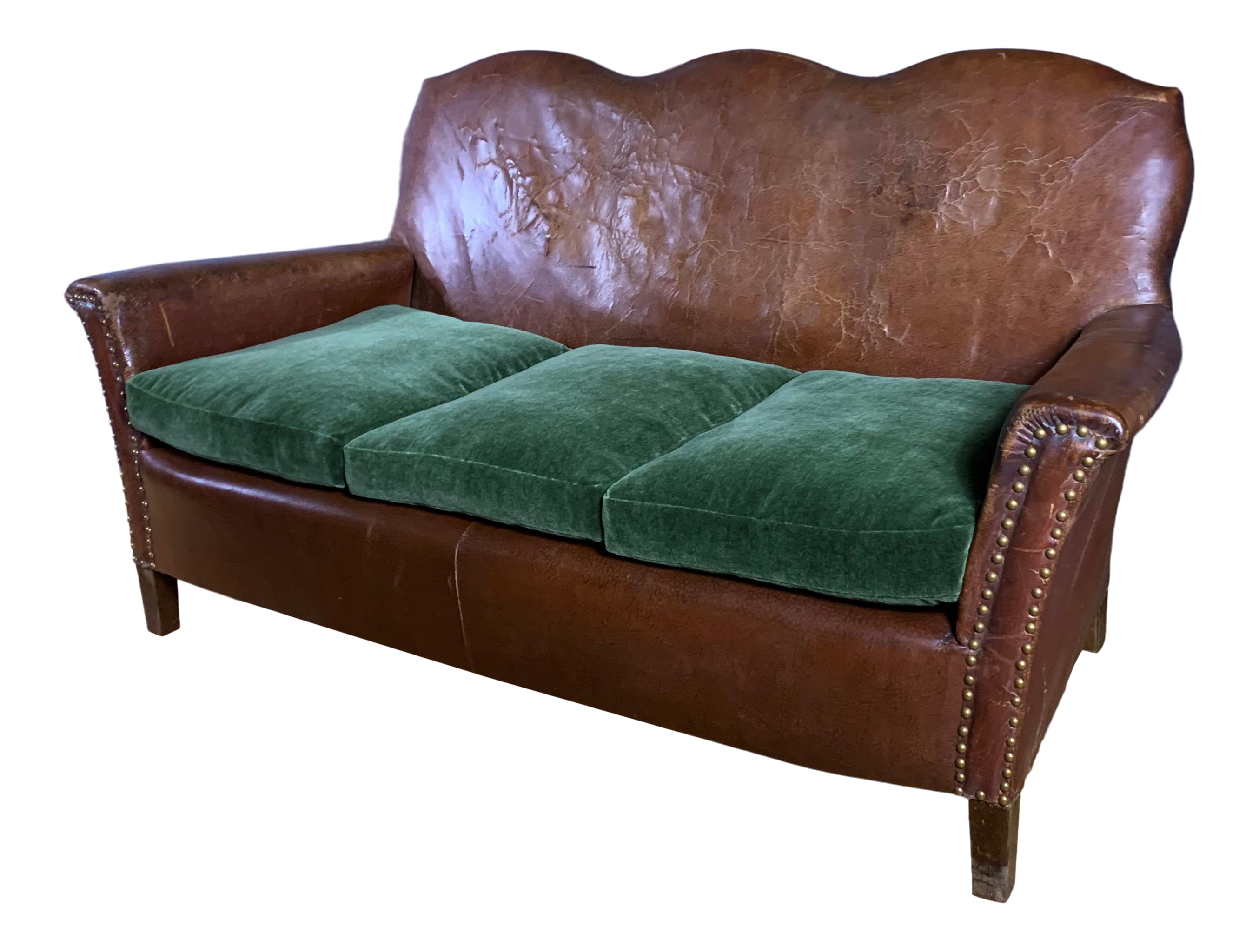Fabulous 1930S Cognac Leather 3 Seat Sofa New Mohair Cushions Gmtry Best Dining Table And Chair Ideas Images Gmtryco