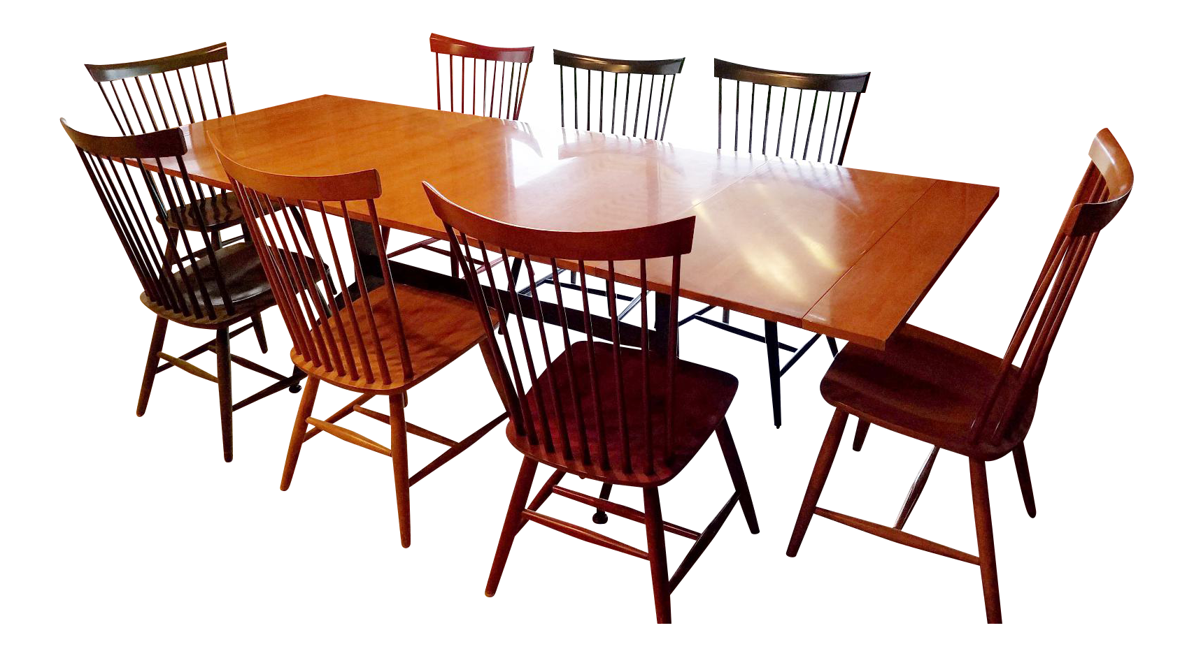 Ethan Allen Country Colors Dining Set With Table And 8 Fan Back Chairs |  Chairish