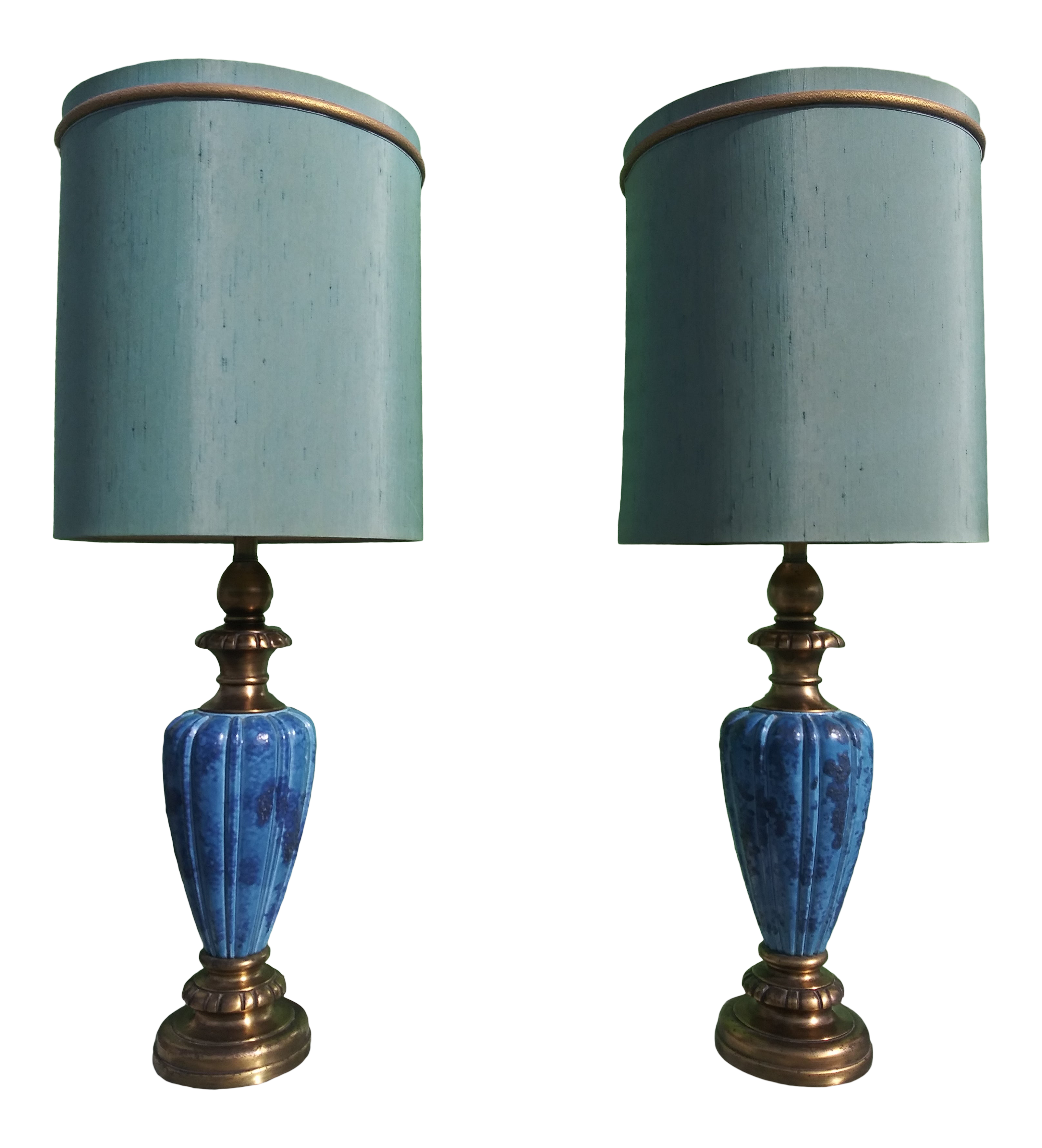 Image of: Mid Century Modern Blue Glaze Table Lamps With Shades By Rembrandt A Pair Chairish