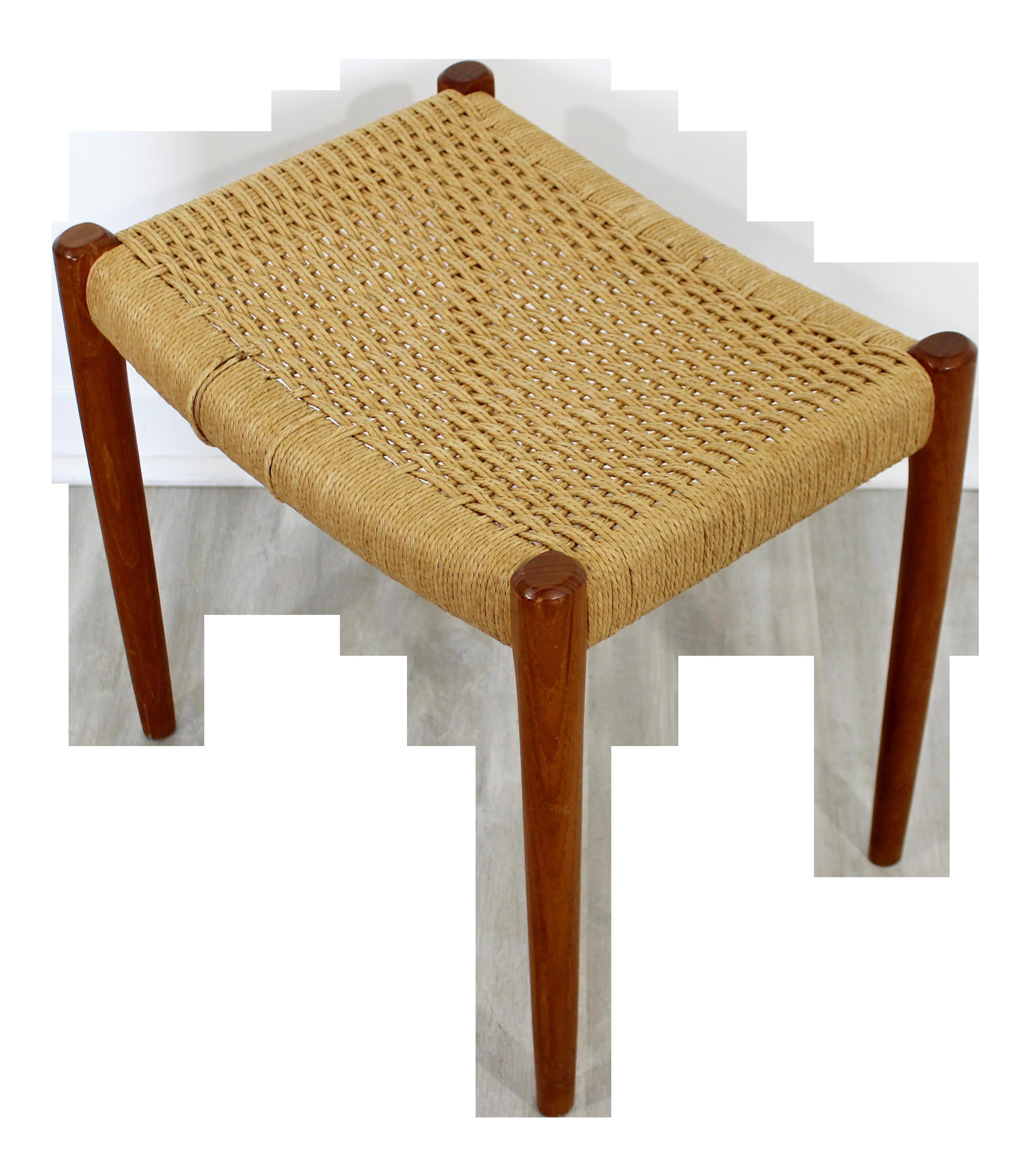 Image of: Mid Century Modern Neils Moller Danish Rope Teak Bench Seat Footstool 1960s Chairish