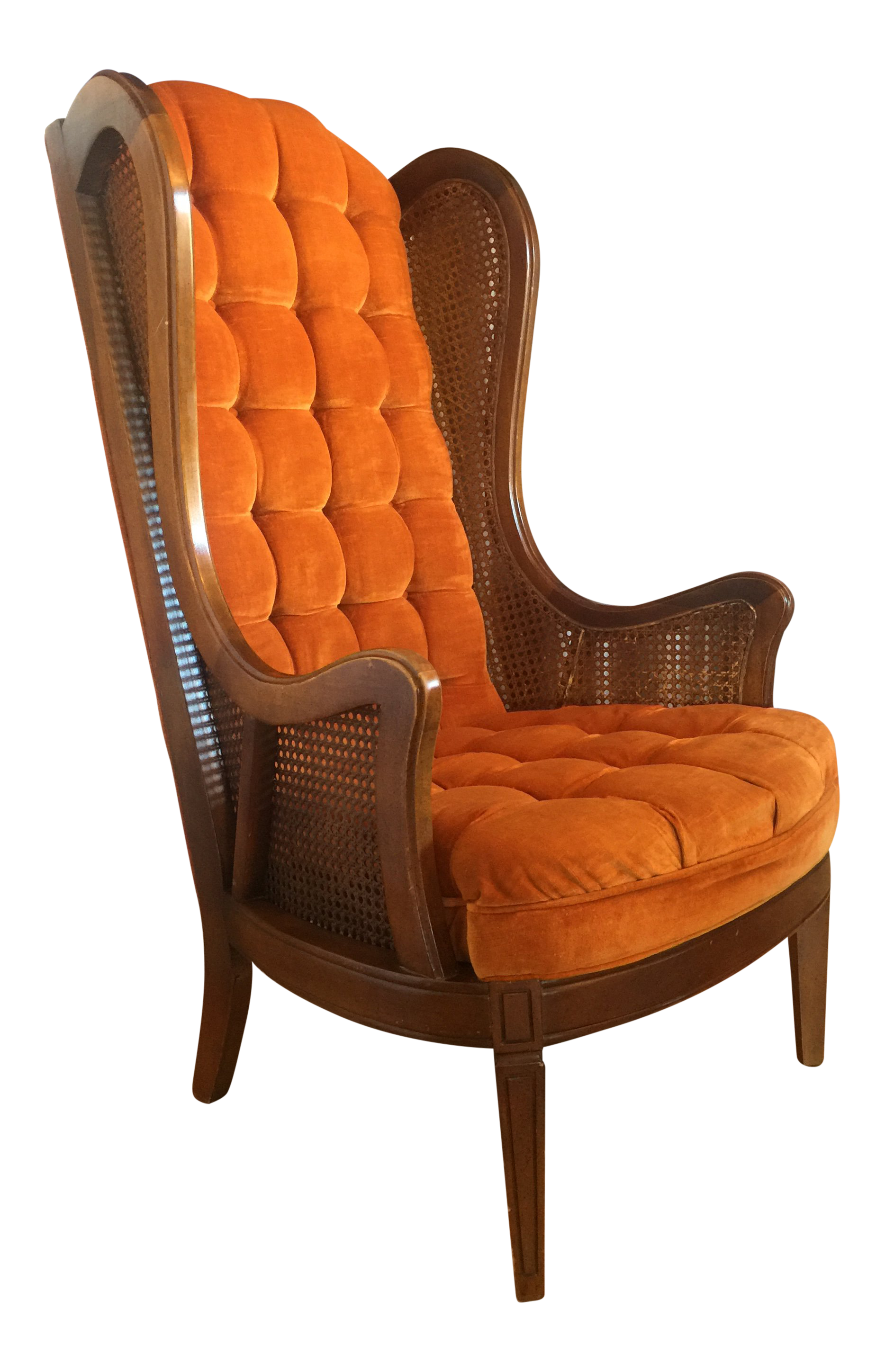 Super 1960S Mid Century Modern Lewittes Tufted Velvet Cane Wingback Chair Gmtry Best Dining Table And Chair Ideas Images Gmtryco