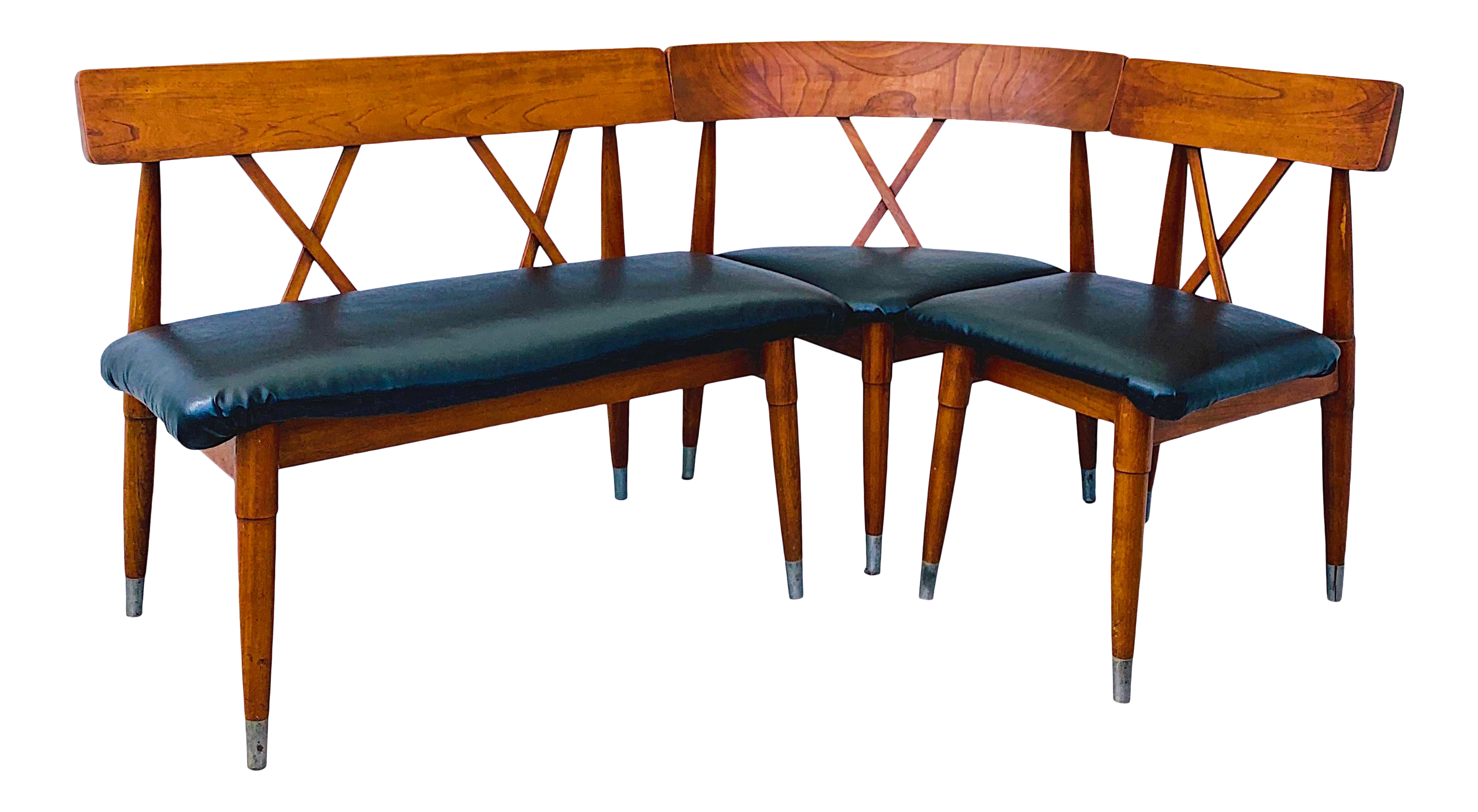 Mid Century Dining Bench Corner Banquette Chairs 3 Pieces Chairish