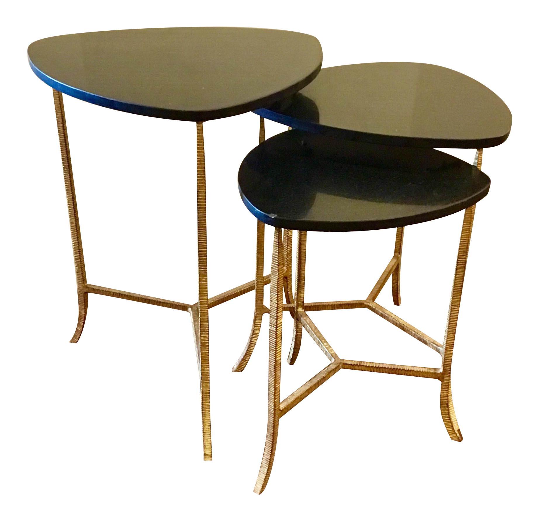 Arteriors Modern Black And Gold Connor Nesting Tables Set Of Three