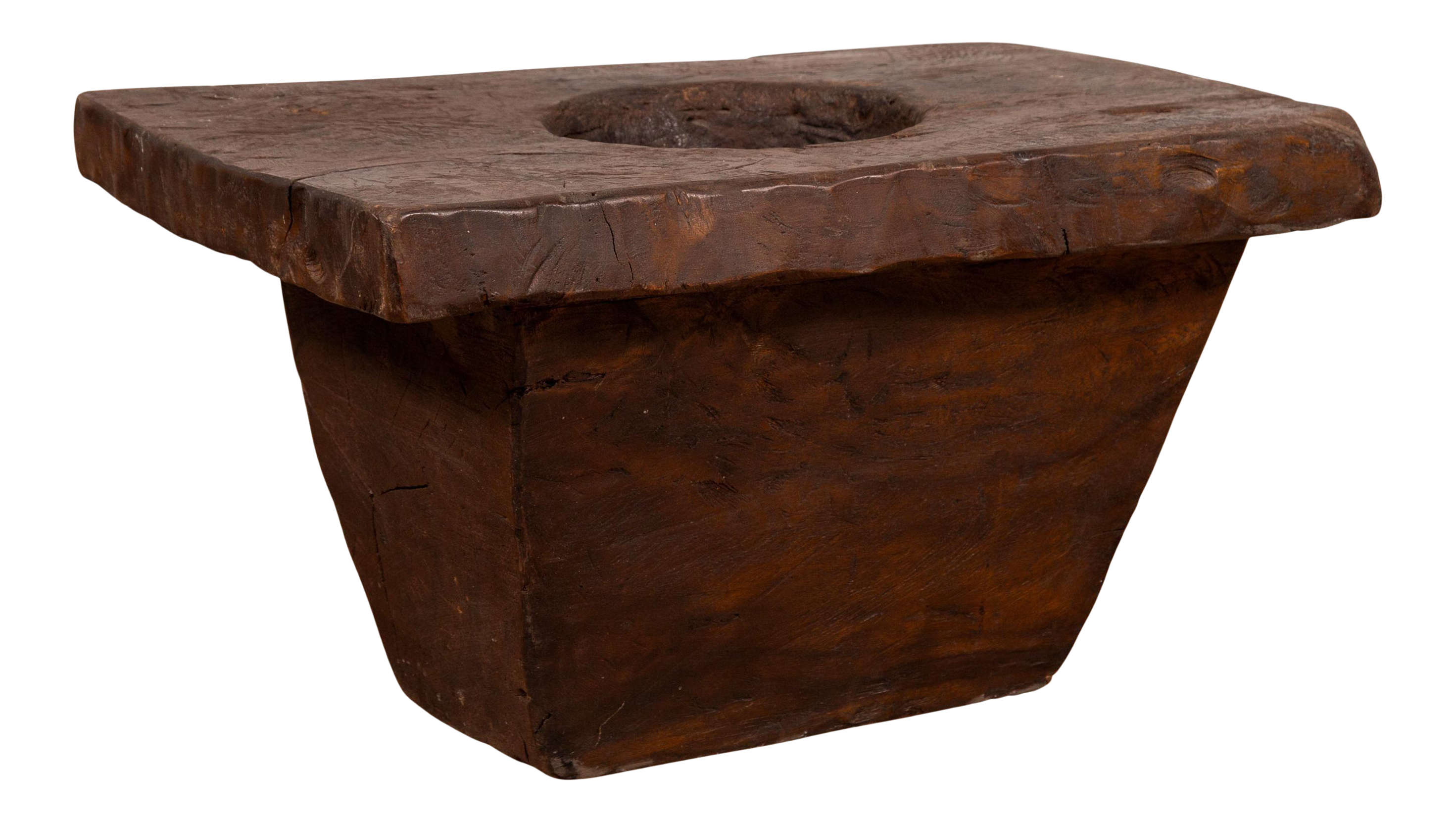 Rustic Antique Indonesian Brown Wooden Planter From The Early 20th Century Chairish