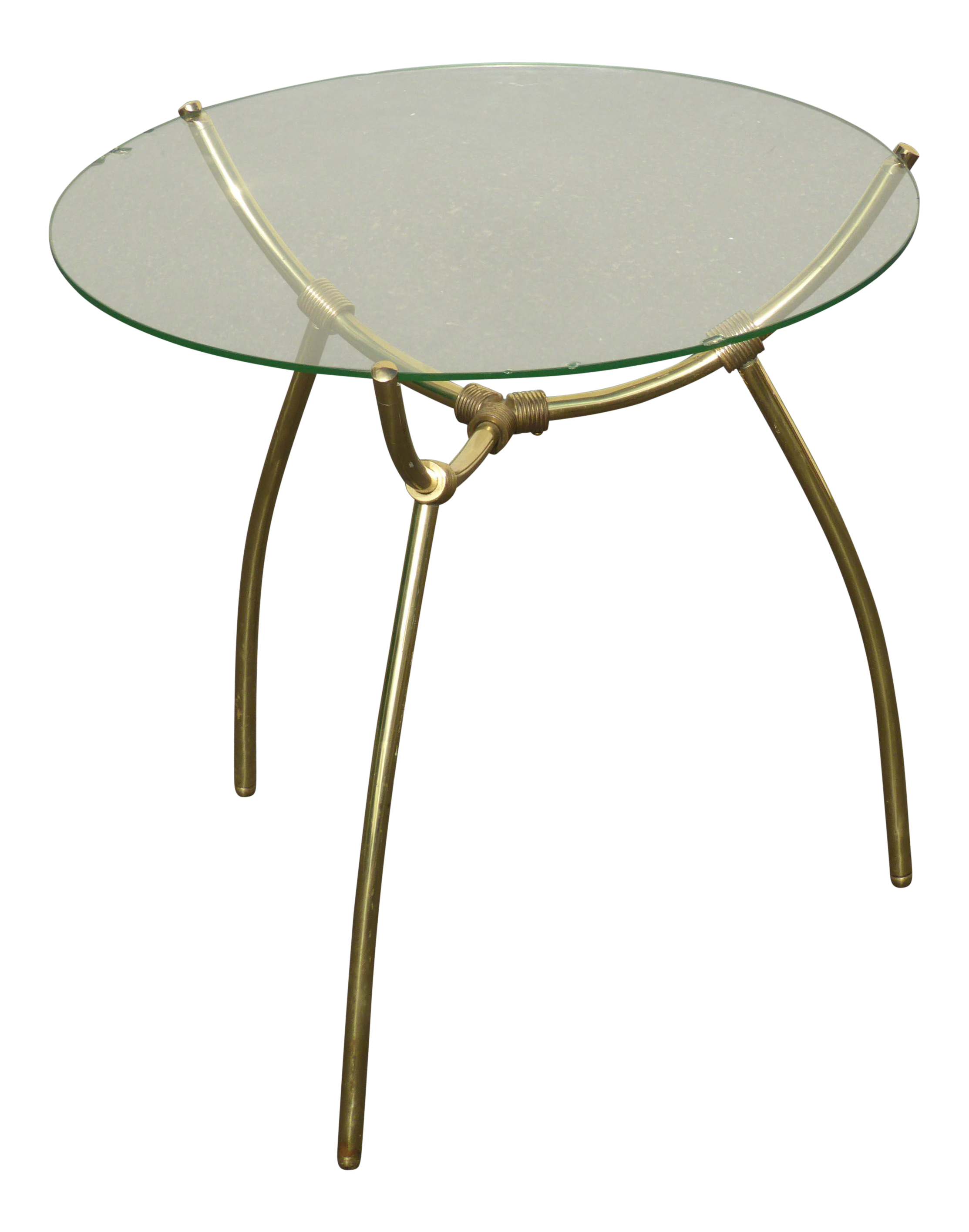 Vintage Mid Century Brass Round Glass Top Side Table Chairish