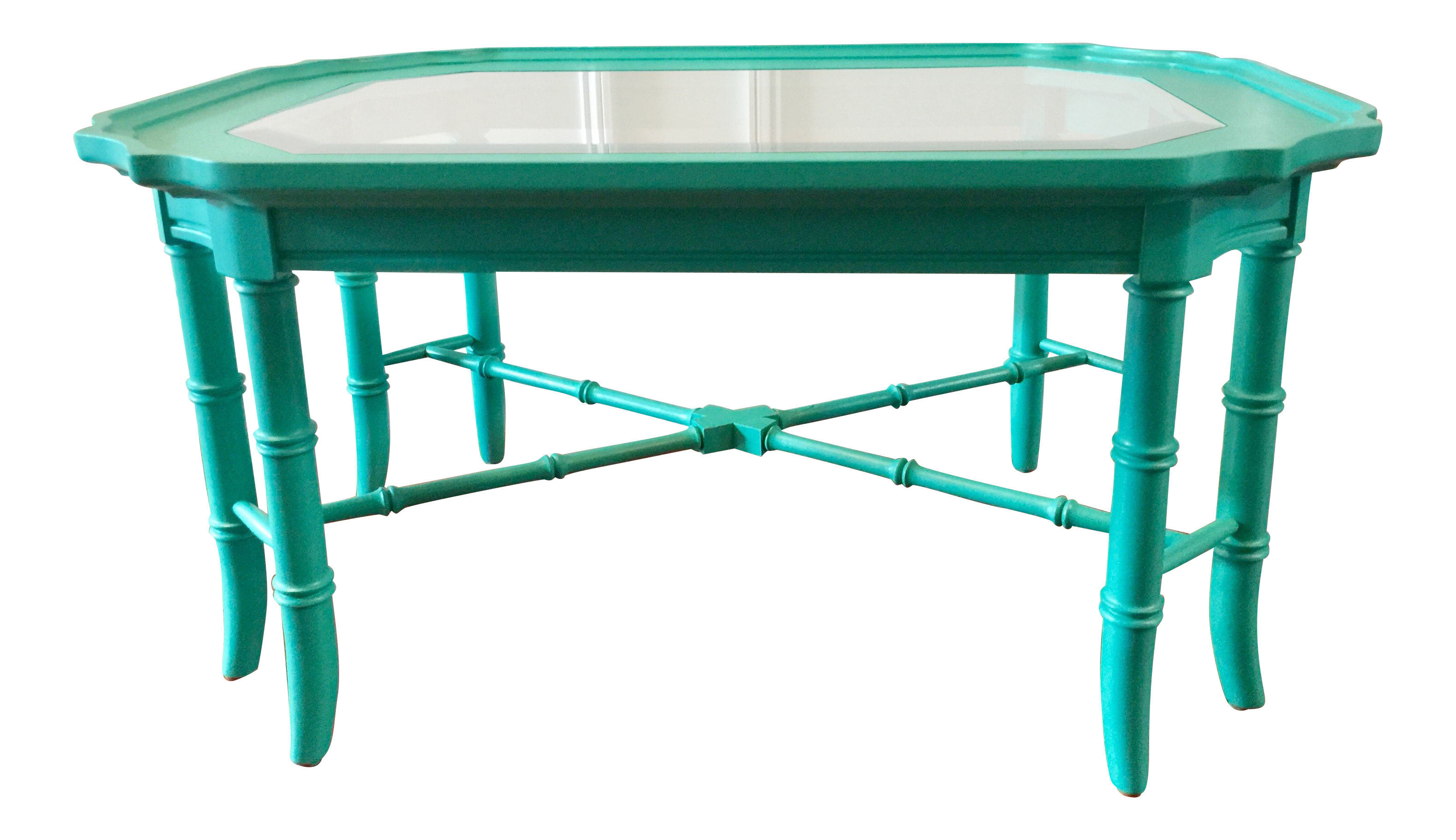 Thomasville Chinoiserie Style Turquoise Faux Bamboo Coffee Table Chairish