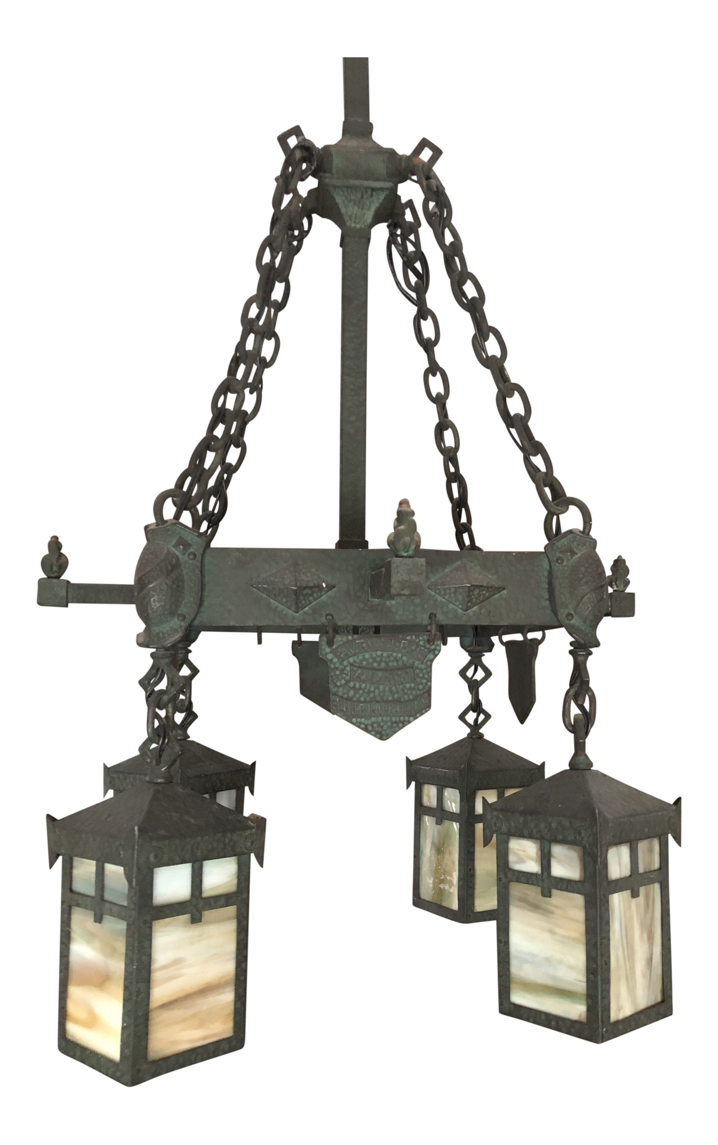 1910 arts and crafts wrought iron ceiling fixture chairish