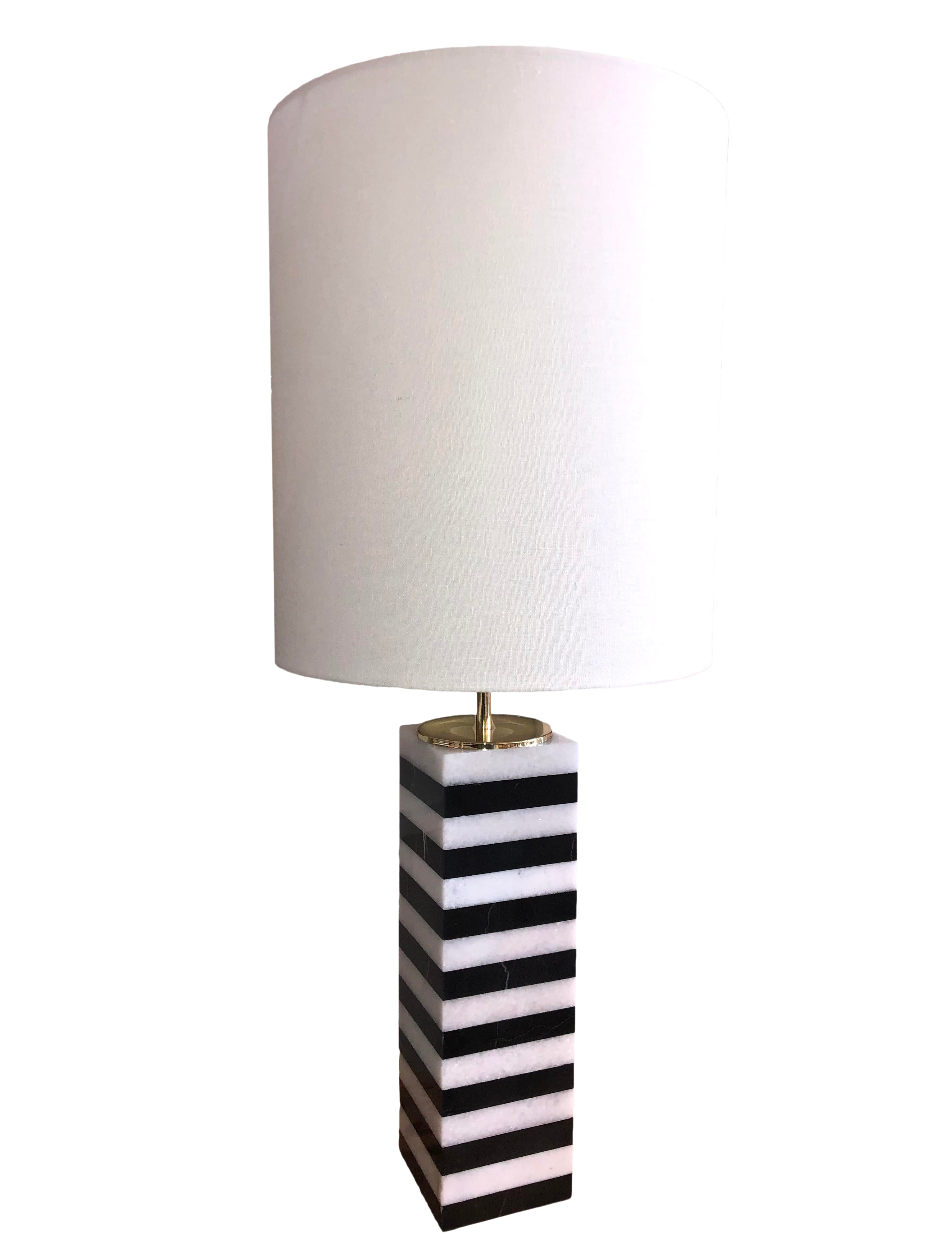 Picture of: Square Black And White Striped Rectangular Marble Table Lamp With Shade Chairish