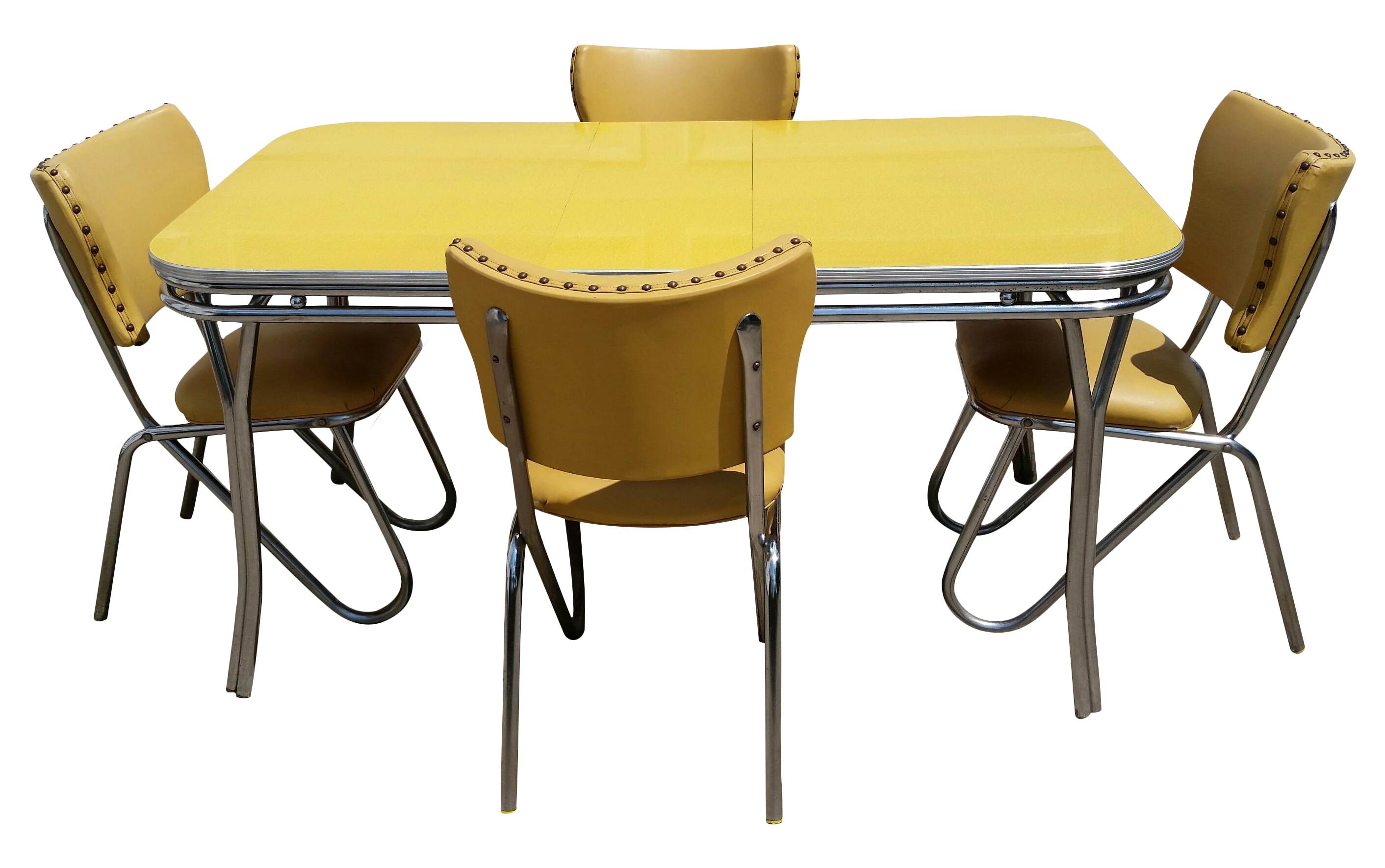 vintage midcentury retro yellow dining set | chairish