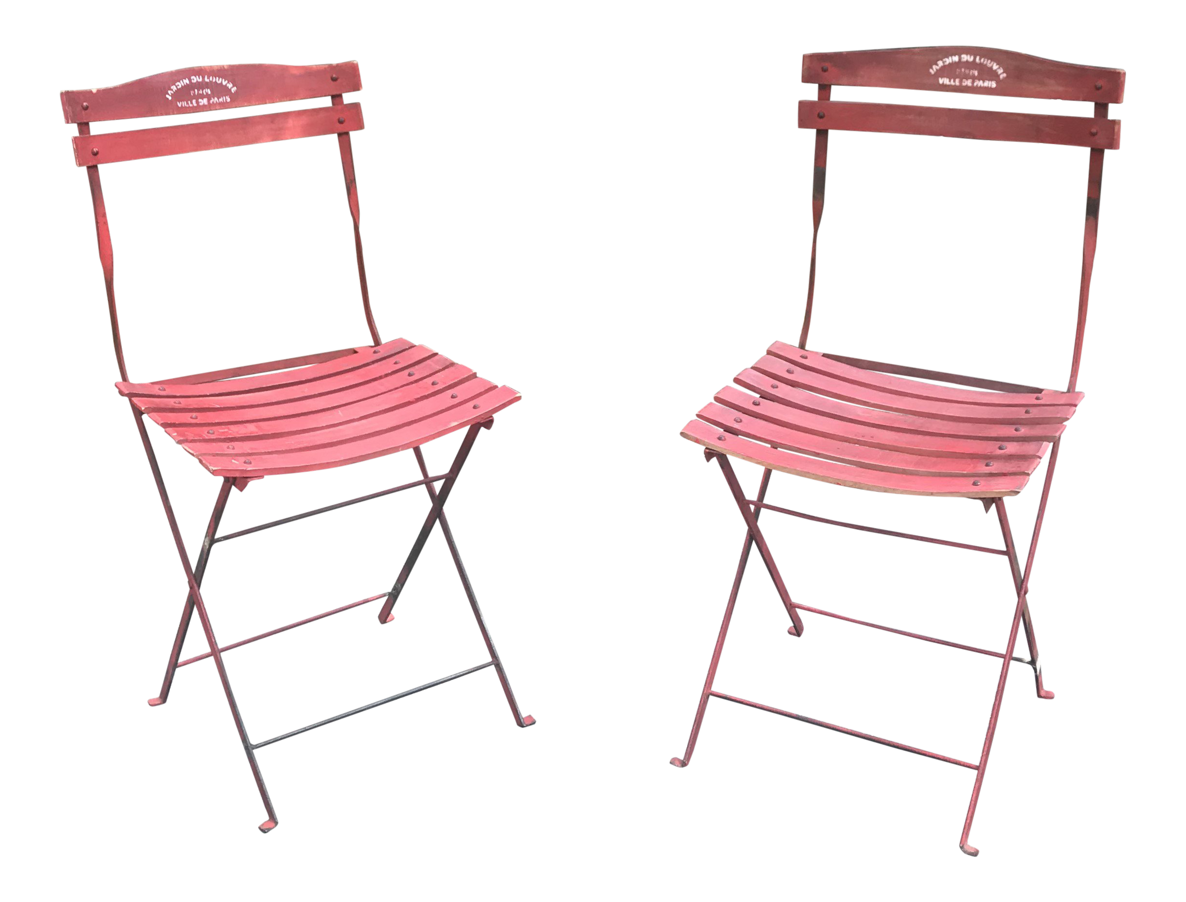 1960s Vintage Red French Folding Bistro Chairs A Pair