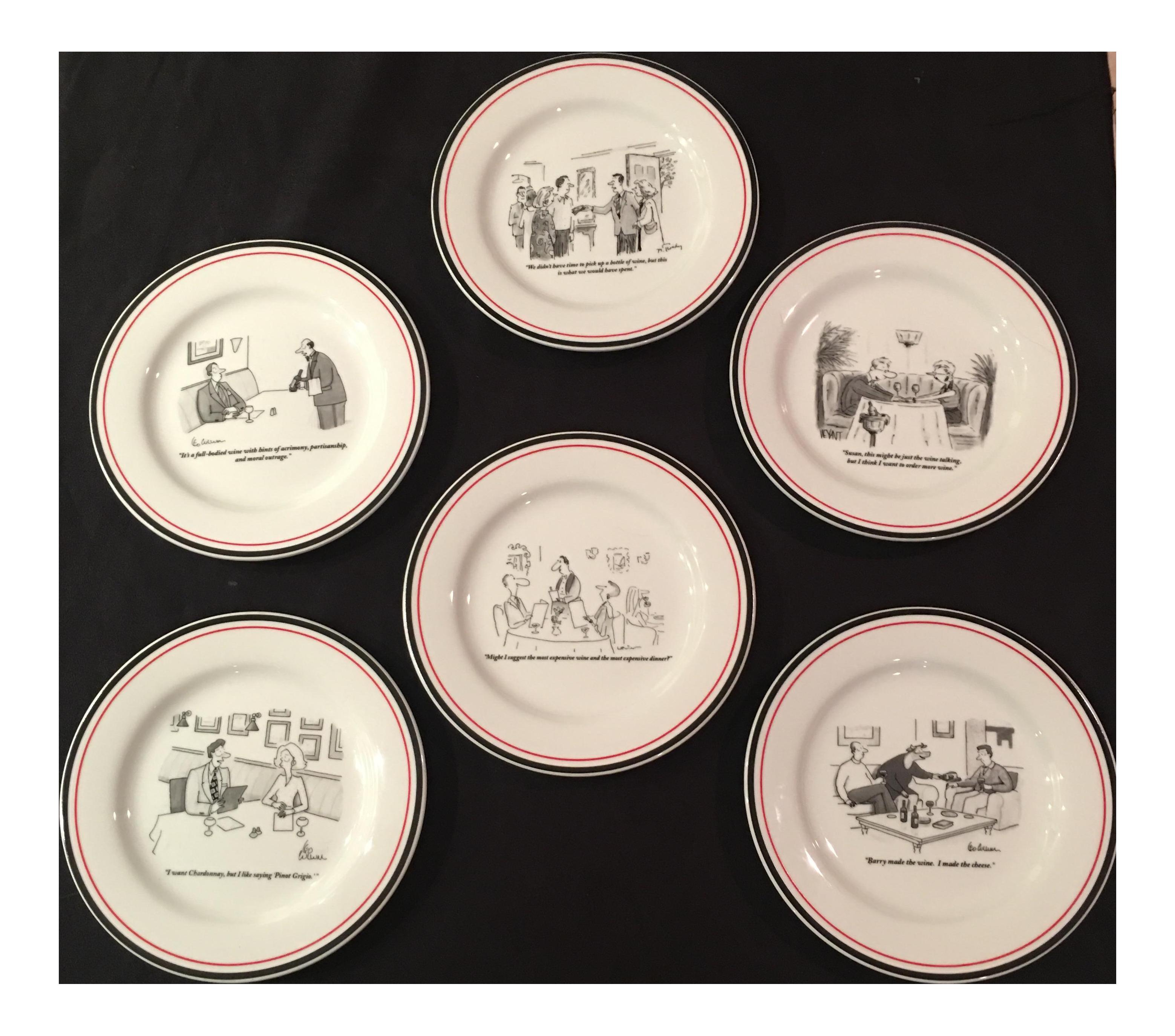 sc 1 st  Chairish & The New Yorker Cartoon Dessert Plates - Set of 6 | Chairish