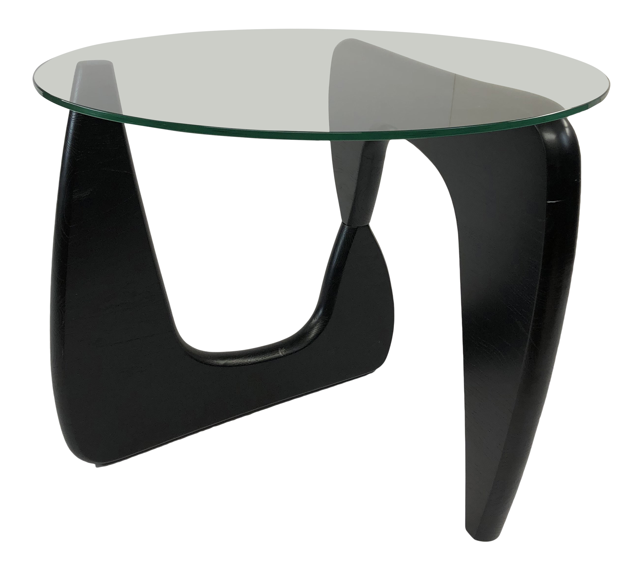 Mid Century Modern Glass Top Side Table In The Style Of Isamu