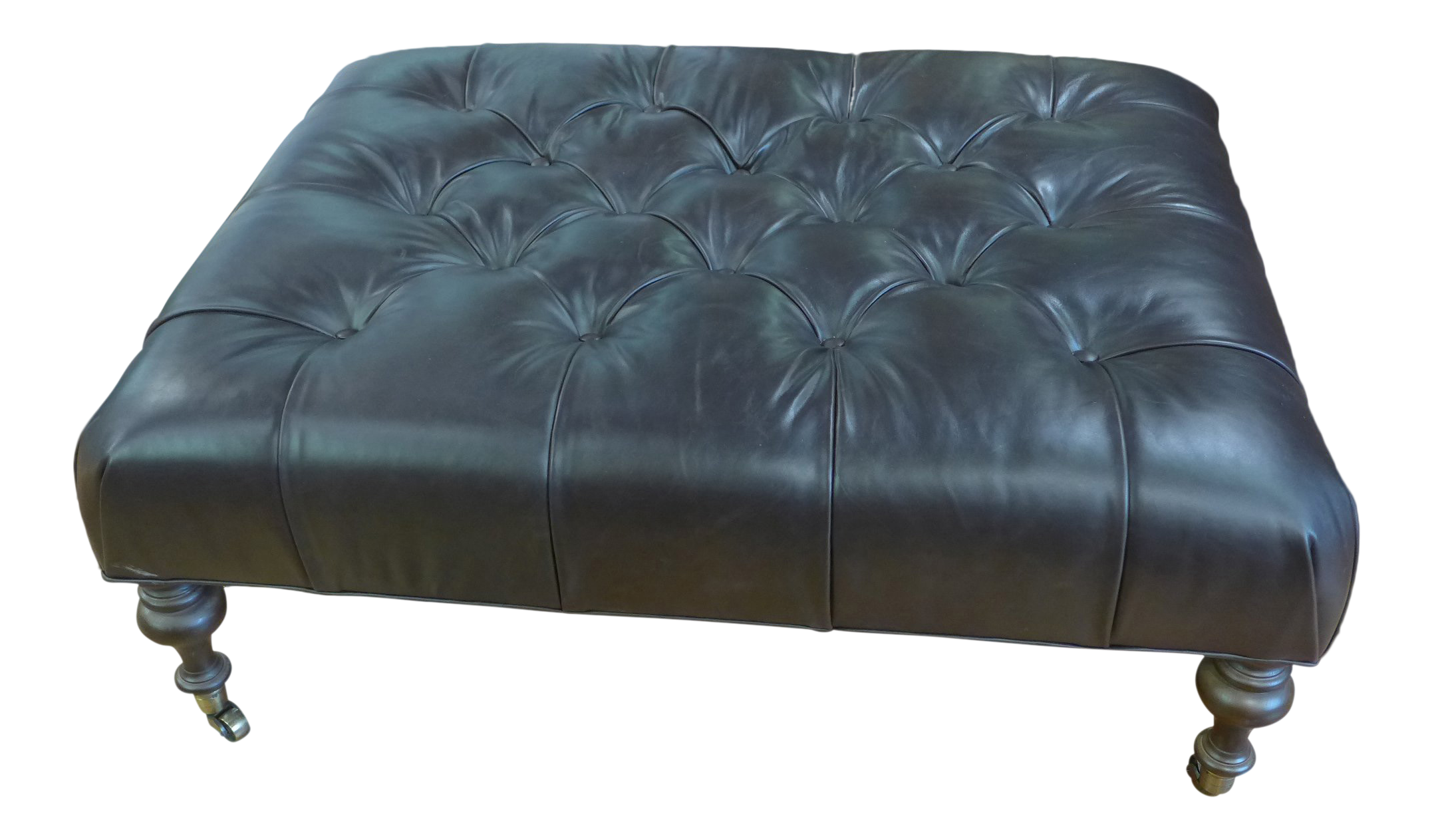 Awe Inspiring Modern Dark Leather Tufted Ottoman Coffee Table Dailytribune Chair Design For Home Dailytribuneorg