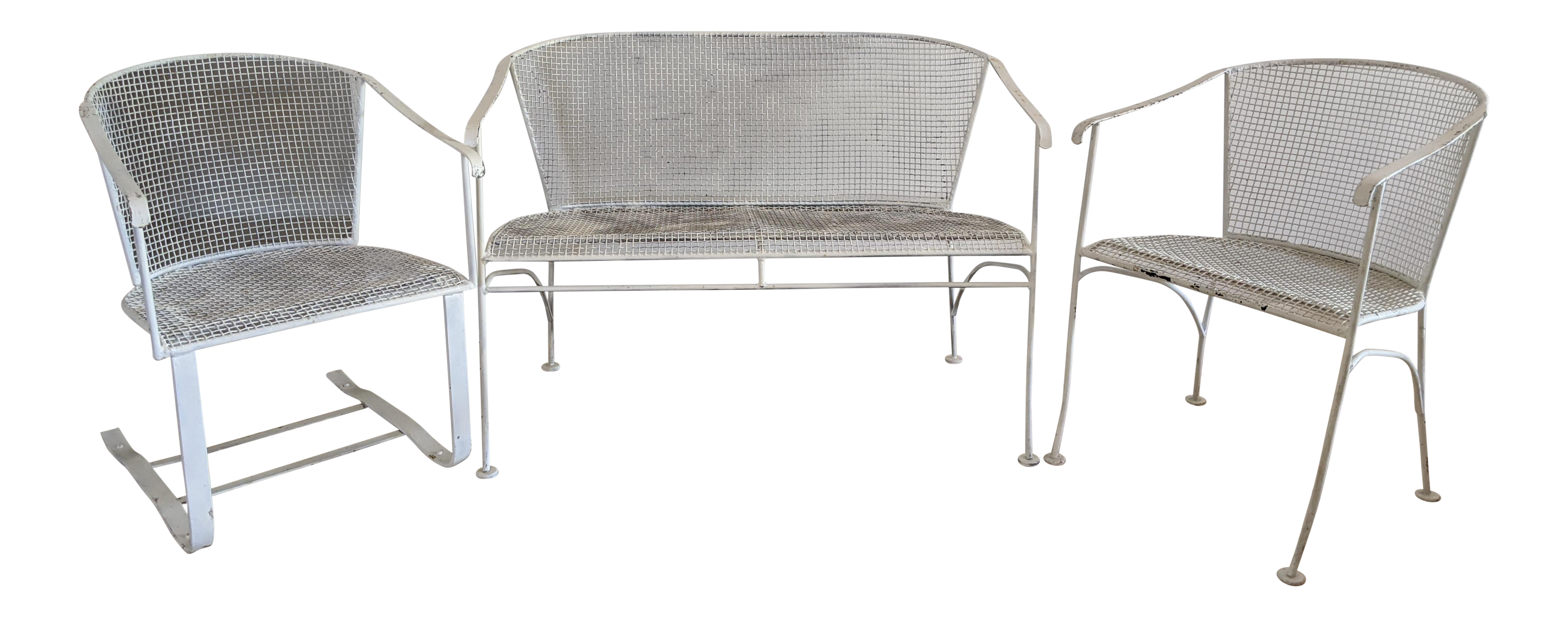 Russell Woodard Style Wrought Iron Patio Furniture 3 Pieces Chairish