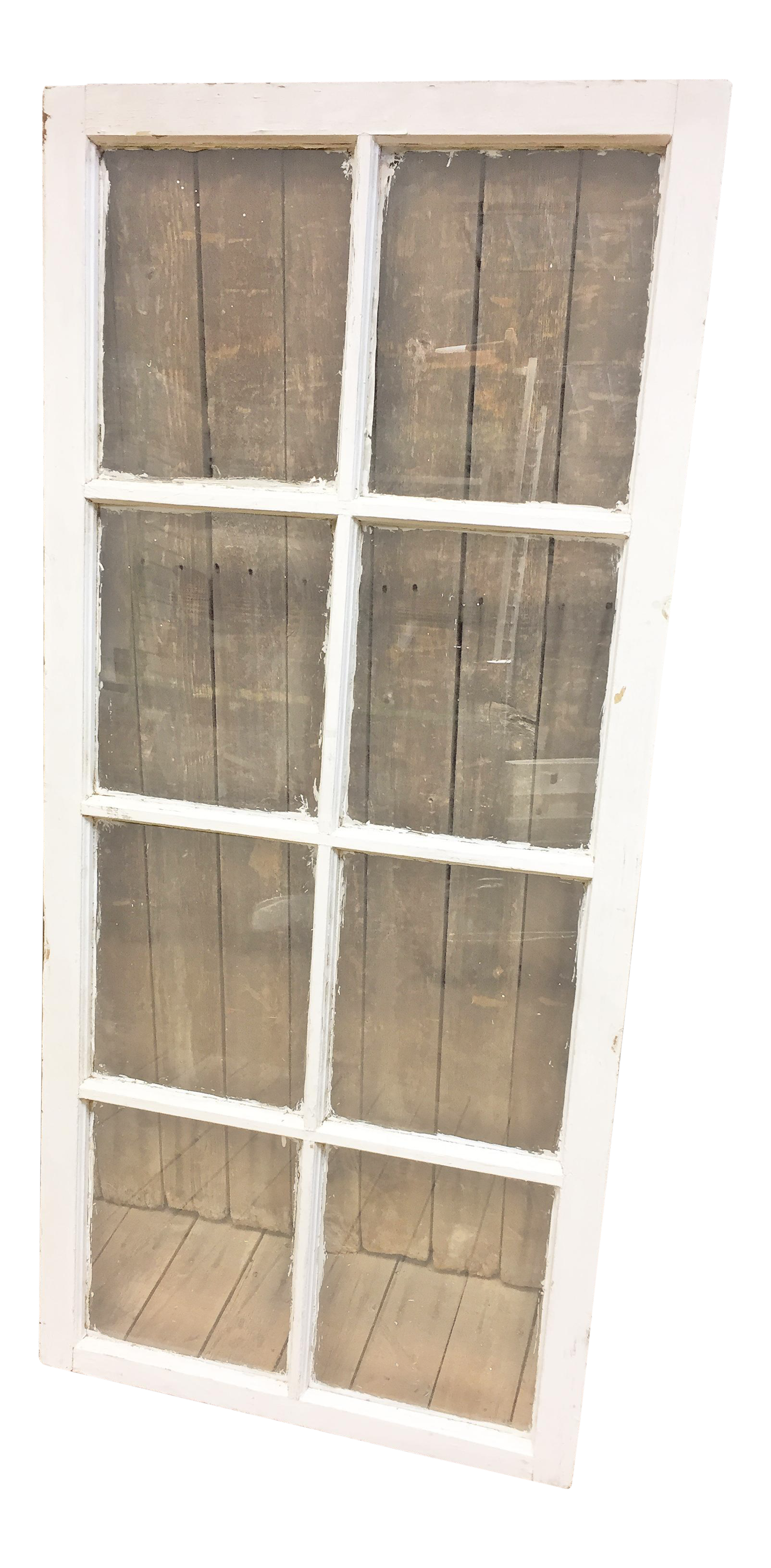 Vintage Weathered White Wood 8 Pane Glass Window