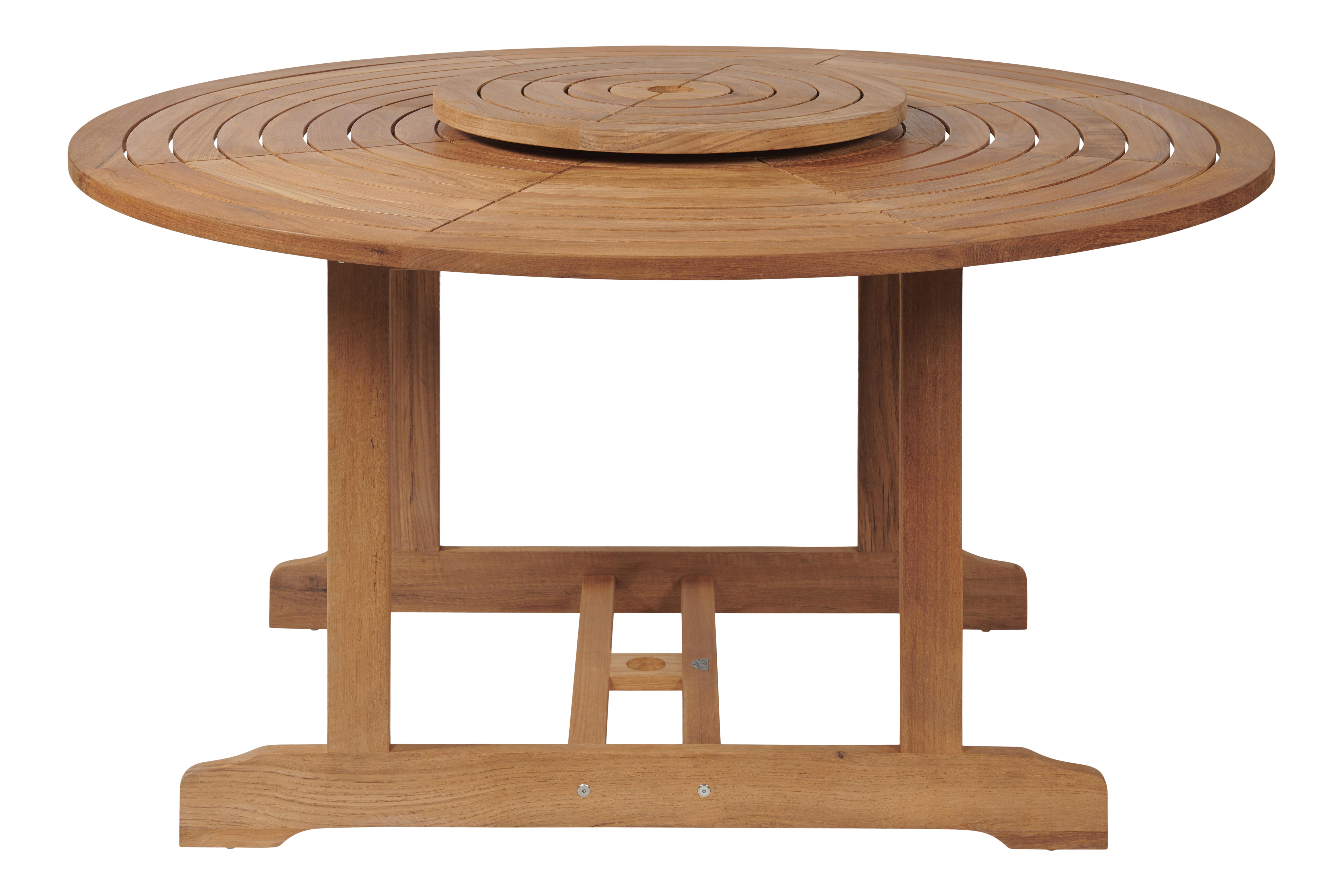 Royal Round Teak Outdoor Dining Table With Lazy Susan Chairish