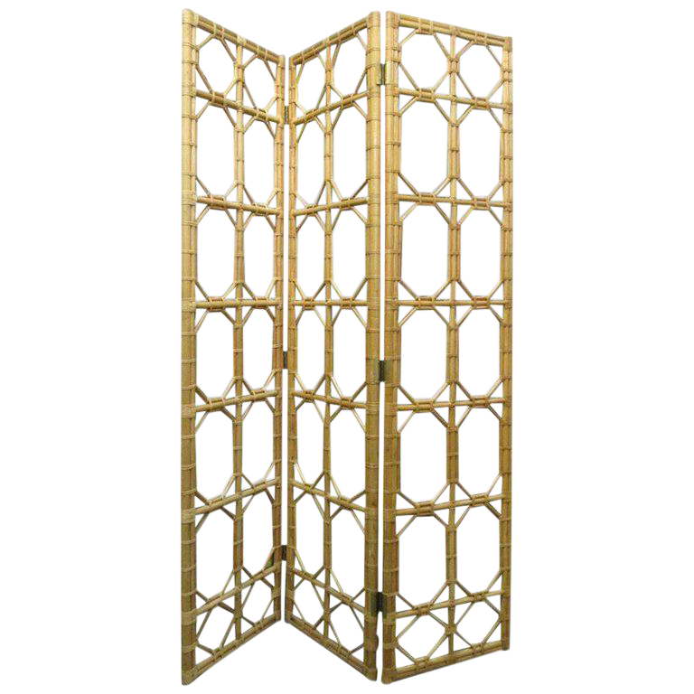 Excellent 1960s 3 Panel Rattan Mirror Floor Screen Room Divider Decaso