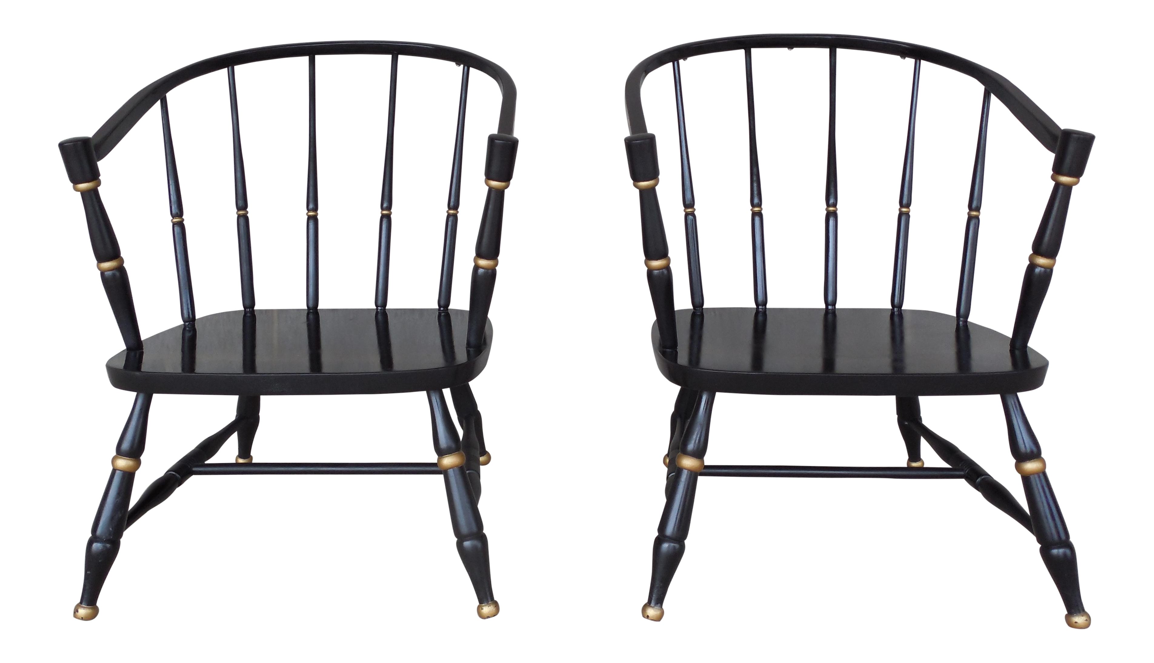 Barrel Back Spindle Black Painted Club Chairs A Pair | Chairish