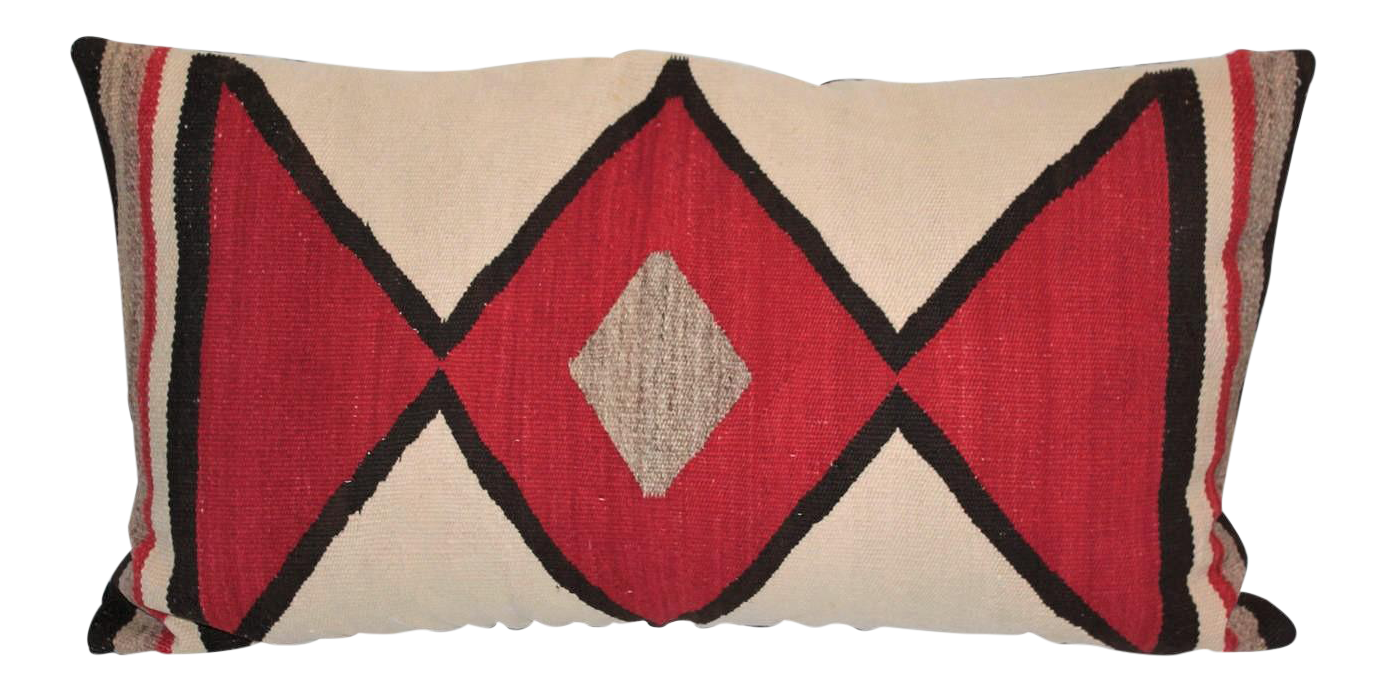 lovely early geometric navajo weaving bolster pillow