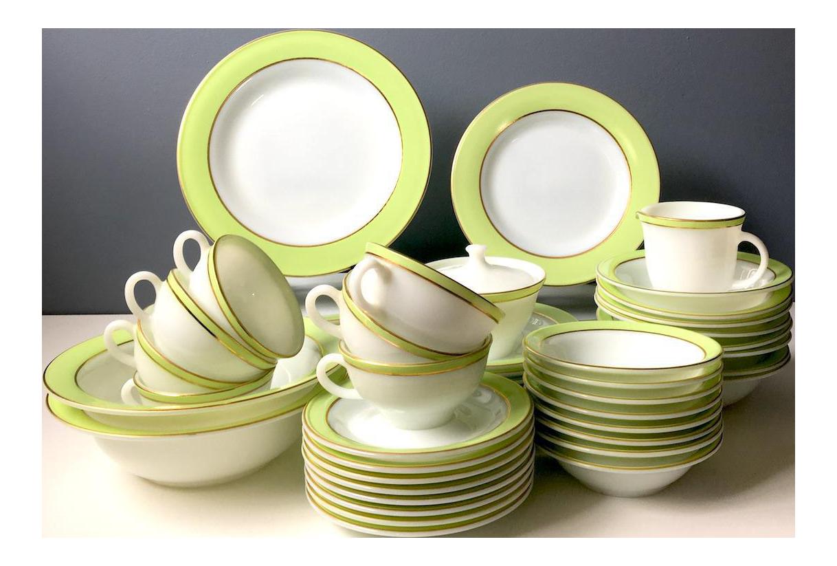 Pyrex Lime Green & White Dinnerware - Set of 57   Chairish