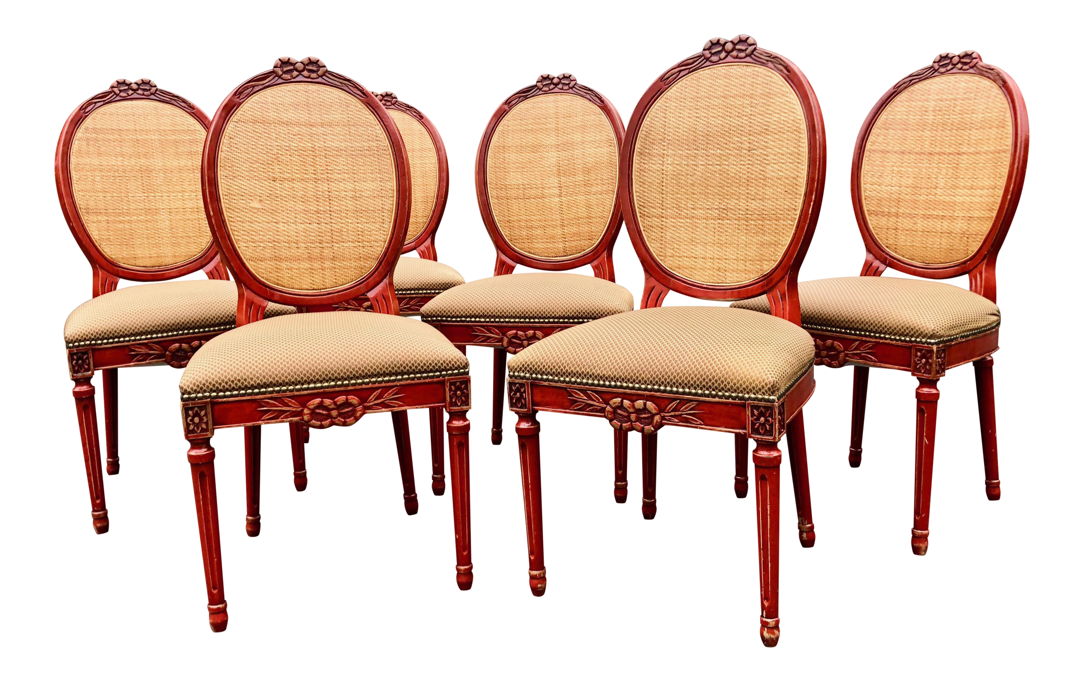 Enjoyable French Country Style Red Lacquer Gilt Dining Chairs Set Of 6 Gmtry Best Dining Table And Chair Ideas Images Gmtryco