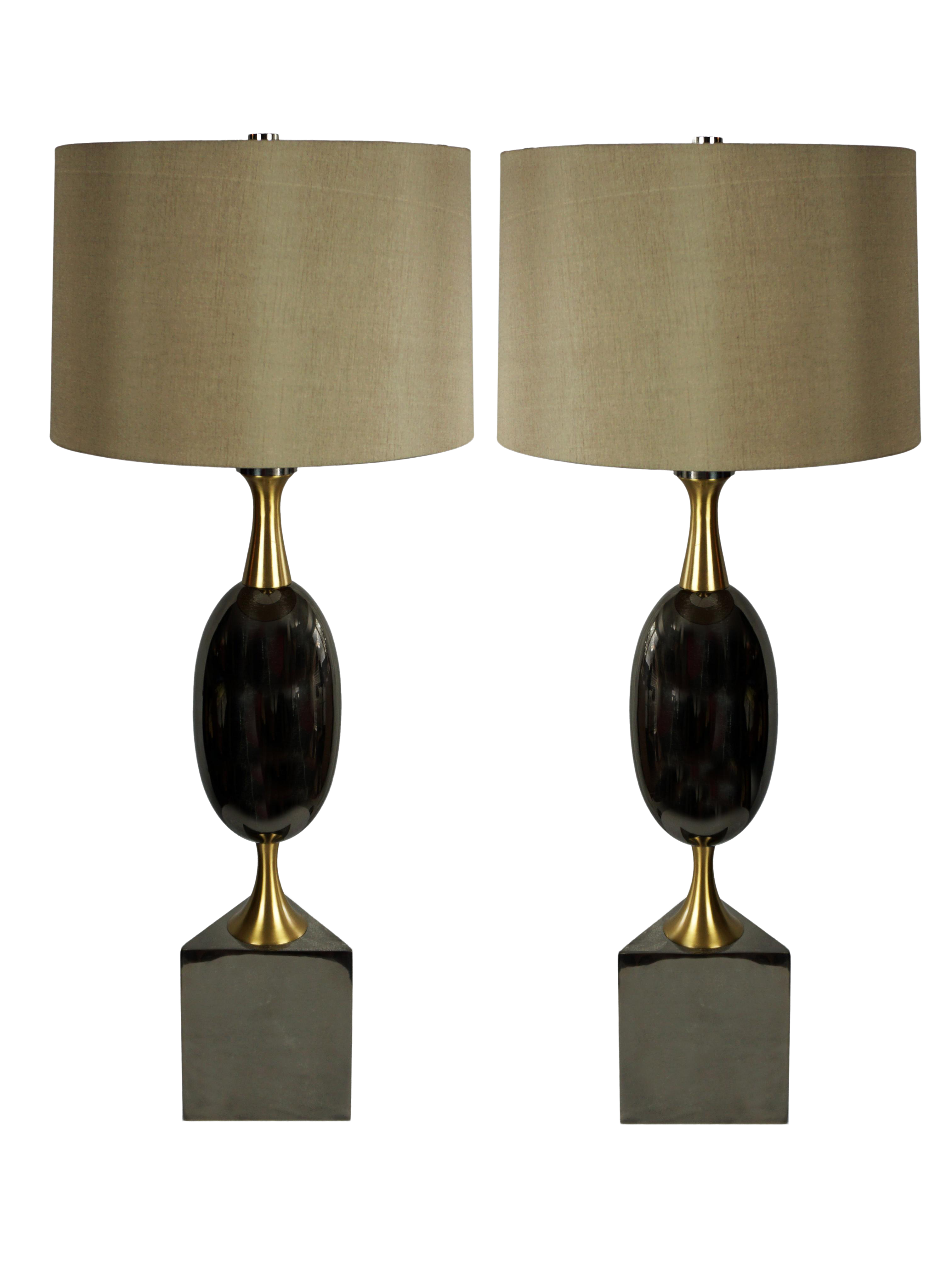 Art Deco Modern History Calder Buffet Table Lamp With Taupe Silk Shades A Pair
