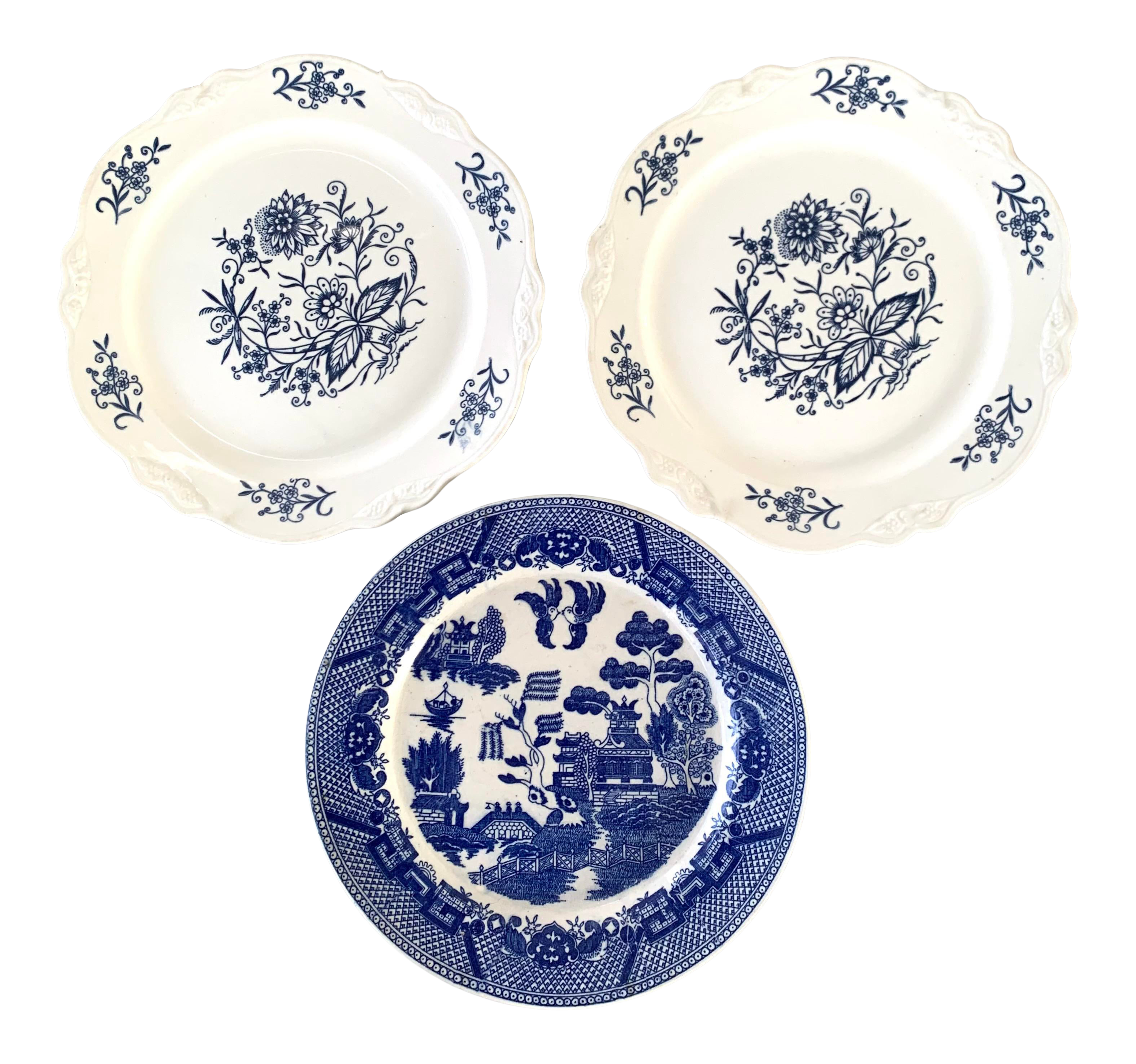 Antique Blue And White Plates Set Of 3 Chairish