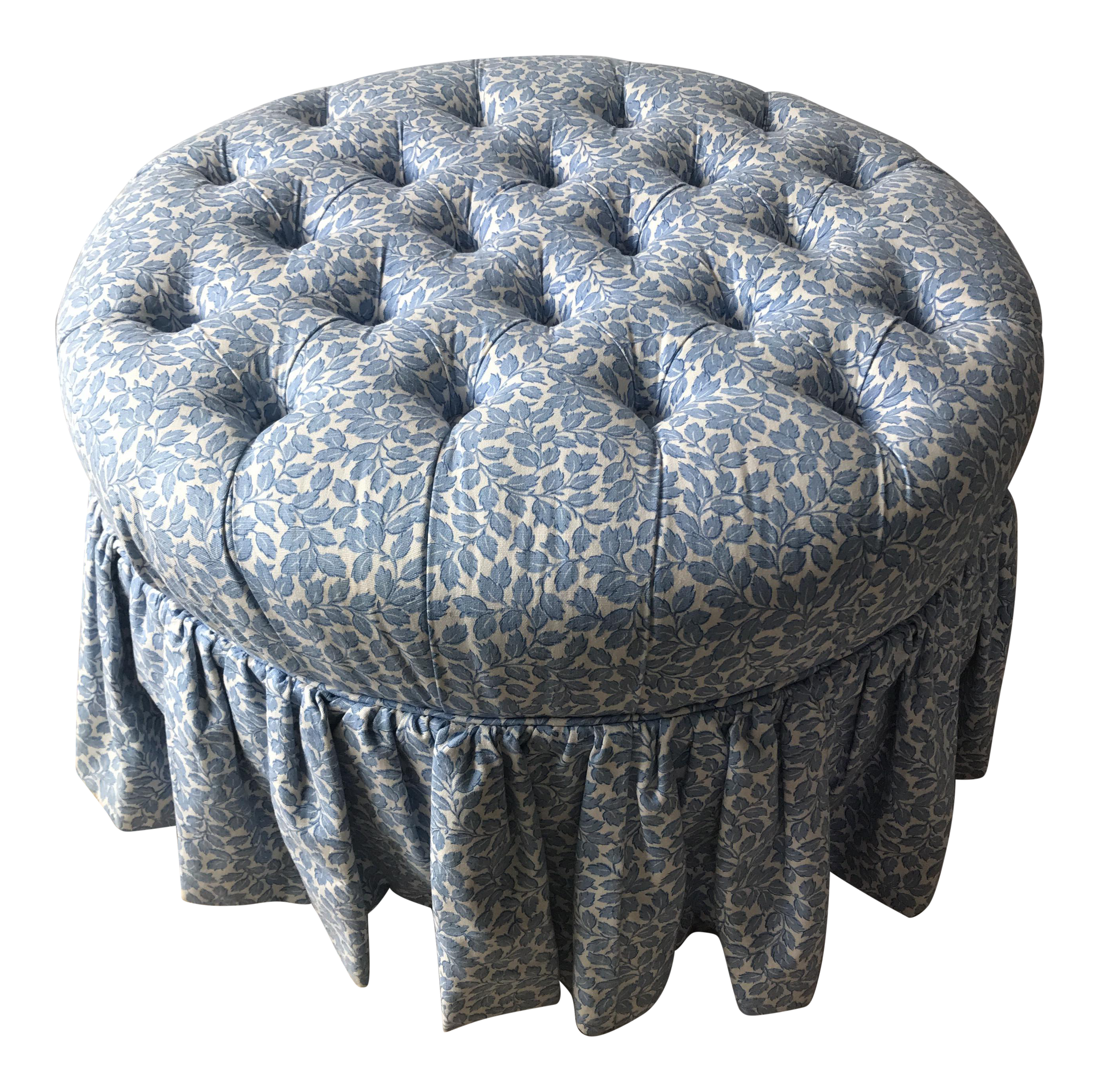 Shabby Chic Ethan Allen Blue and White Floral Round Tufted Ottoman ...