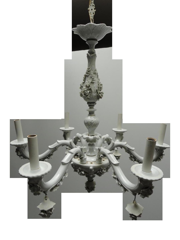 Rare capodimonte white porcelain 6 arm chandelier chairish arubaitofo Images