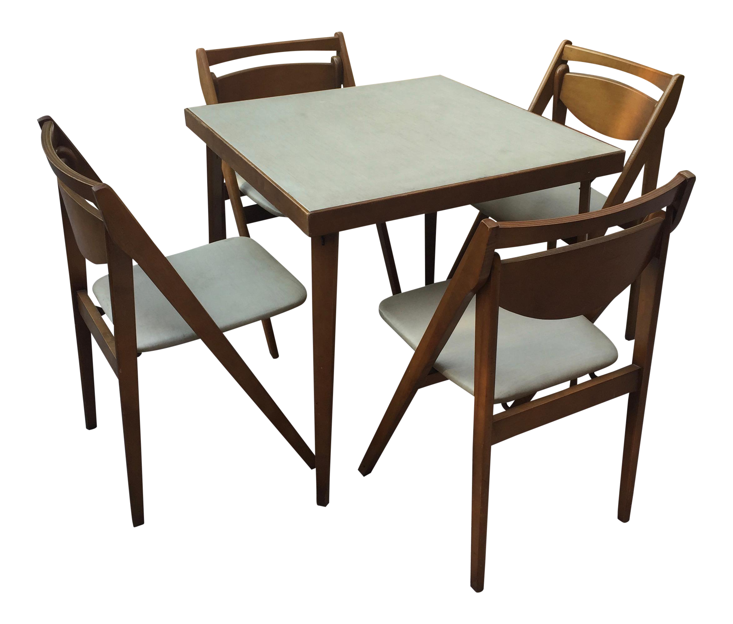 Mid Century Modern Stakmore Folding Bentwood Table Chairs Set Of 5