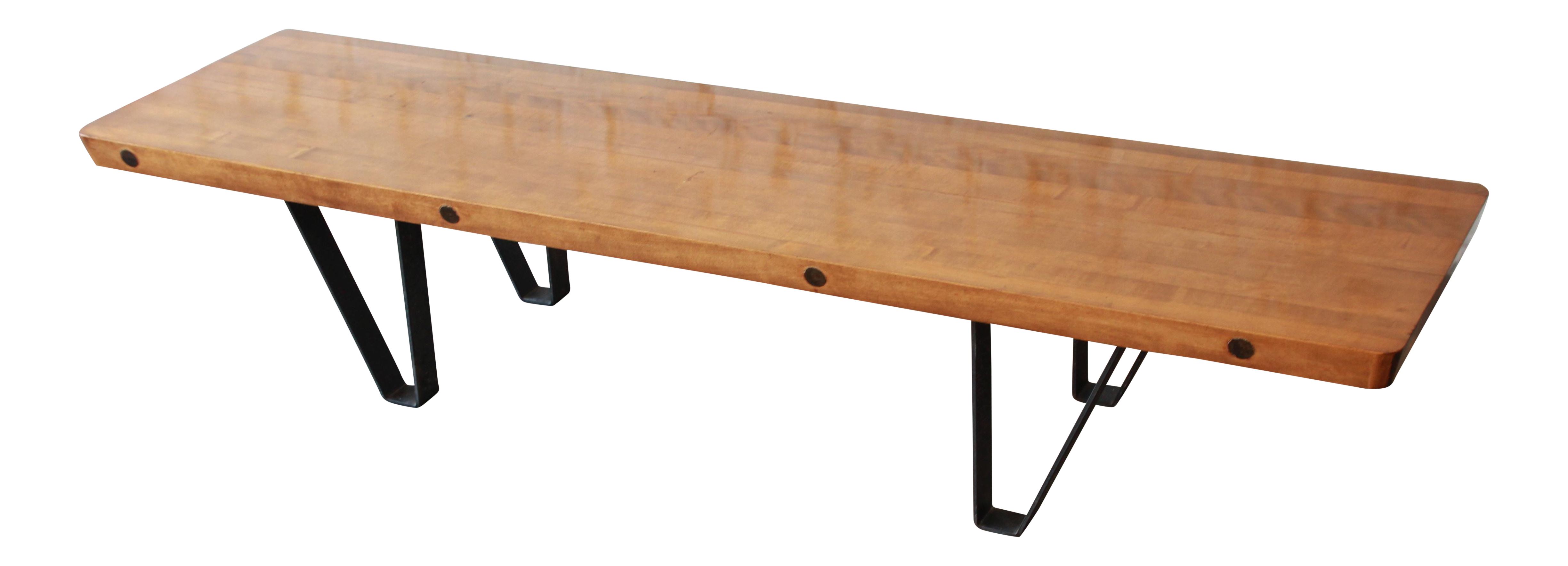 Pleasing Mid Century Modern Long Bench Or Coffee Table With Bowling Lane Top Gmtry Best Dining Table And Chair Ideas Images Gmtryco