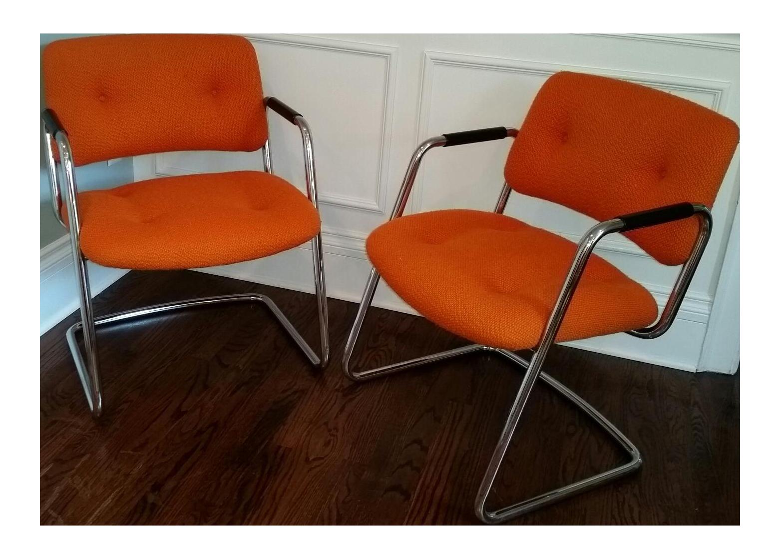 Orange Chrome Steelcase Cantilever Chairs - A Pair | Chairish