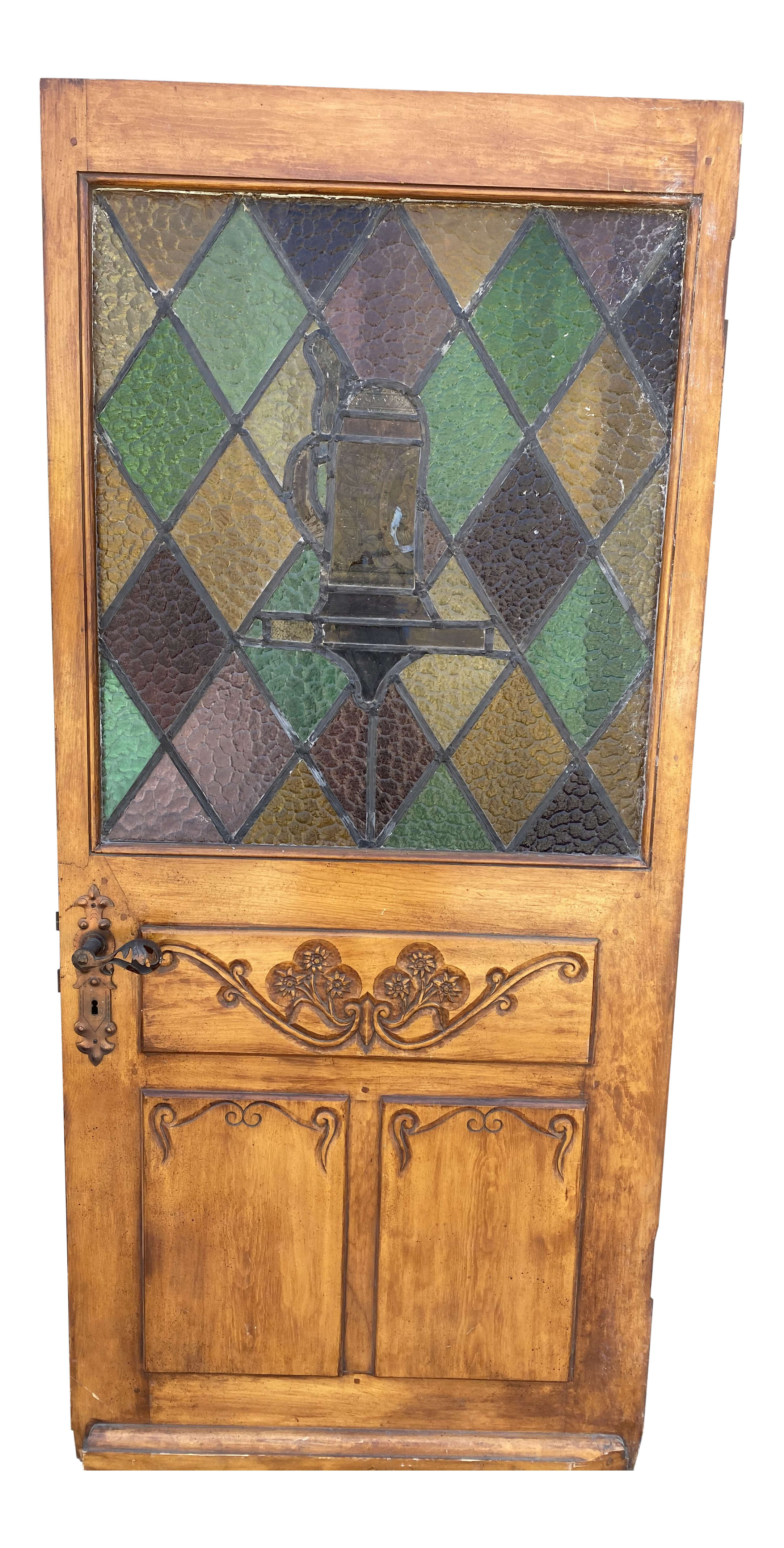Spanish Revival Stained Glass Front Door With Carved Wood Chairish
