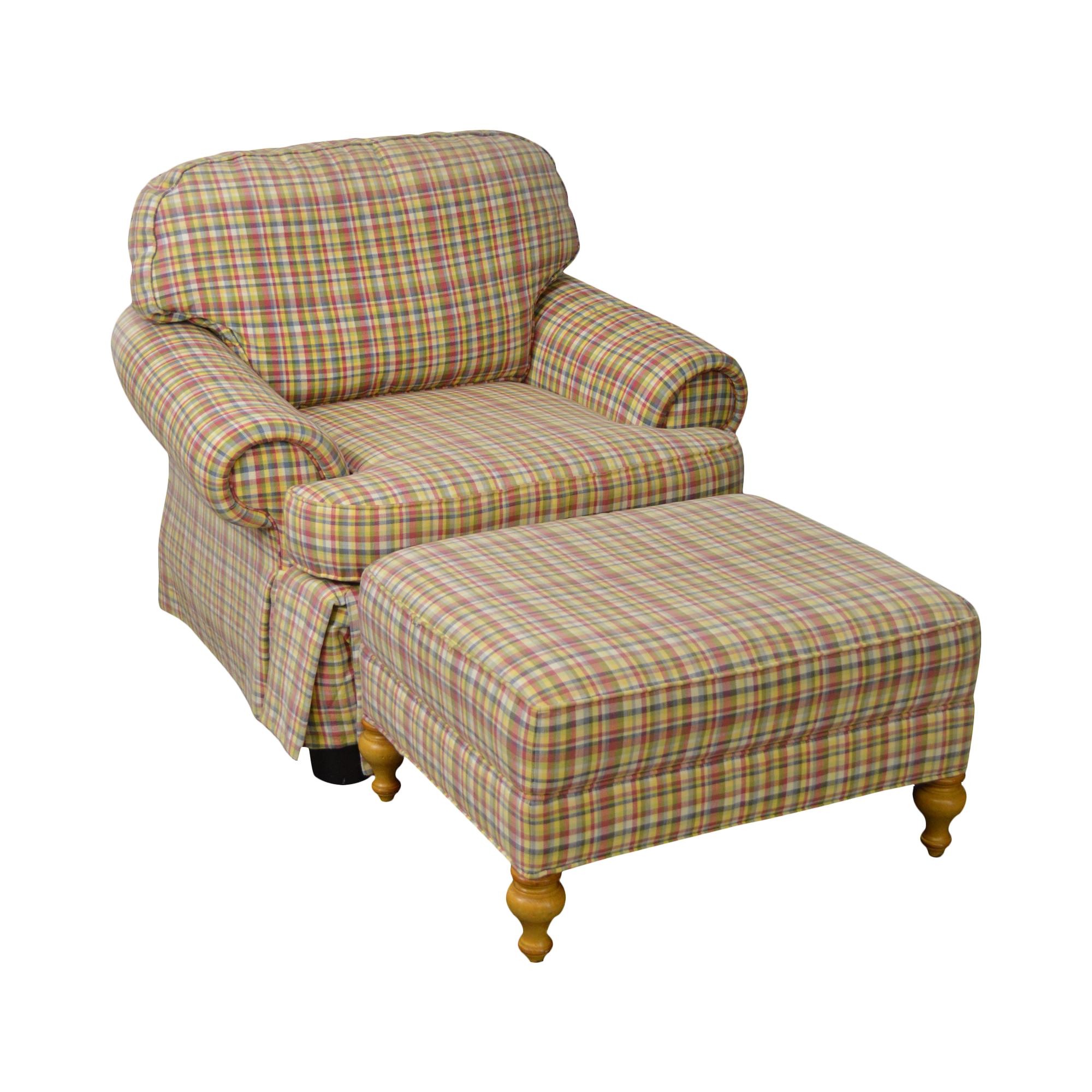 Kitchen Cabinets From China Wesley Hall Plaid Upholstered Club Chair W Ottoman Chairish