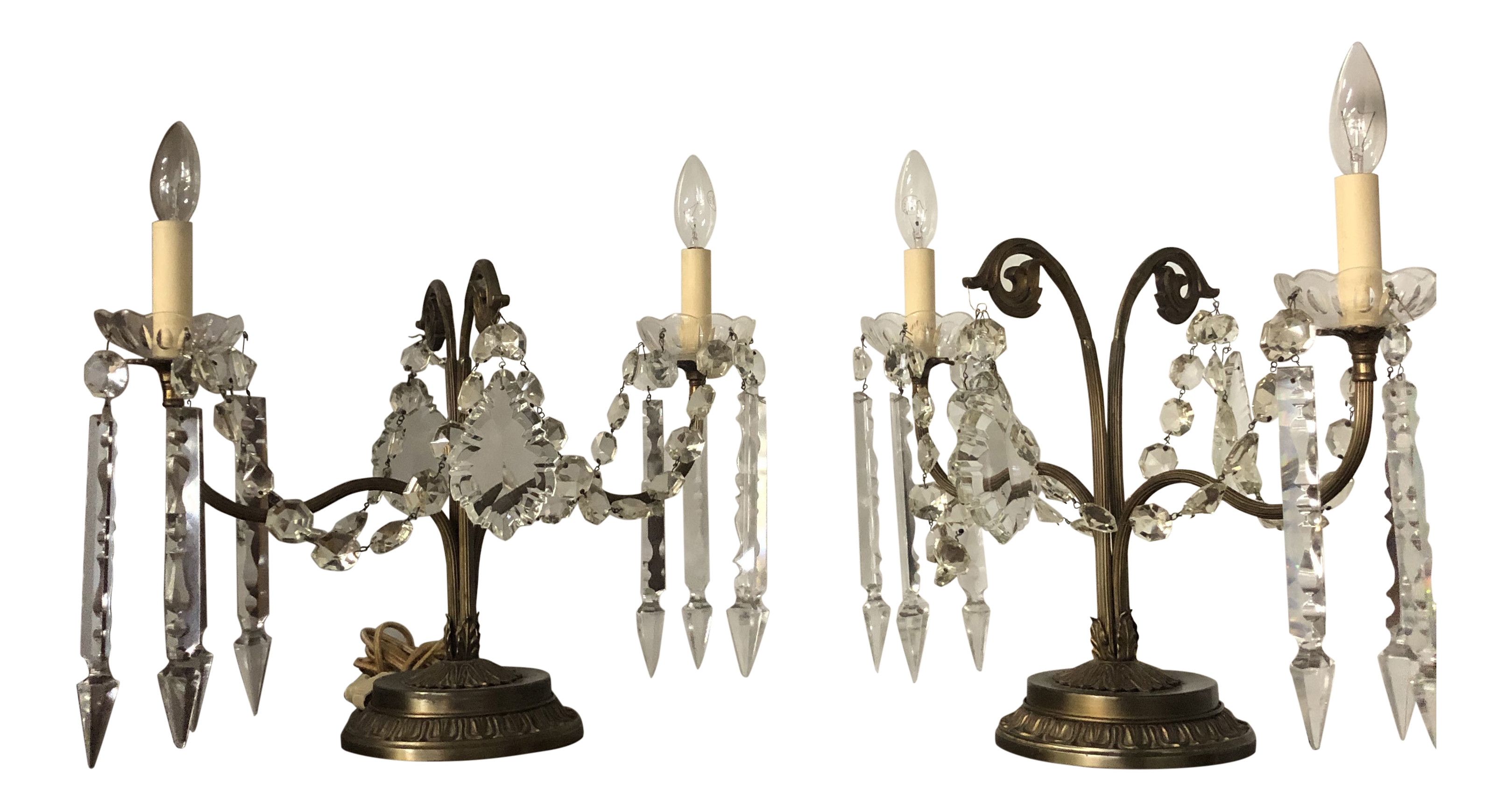 Antique Candelabras With Crystals And Brass Table Lamps A Pair Chairish