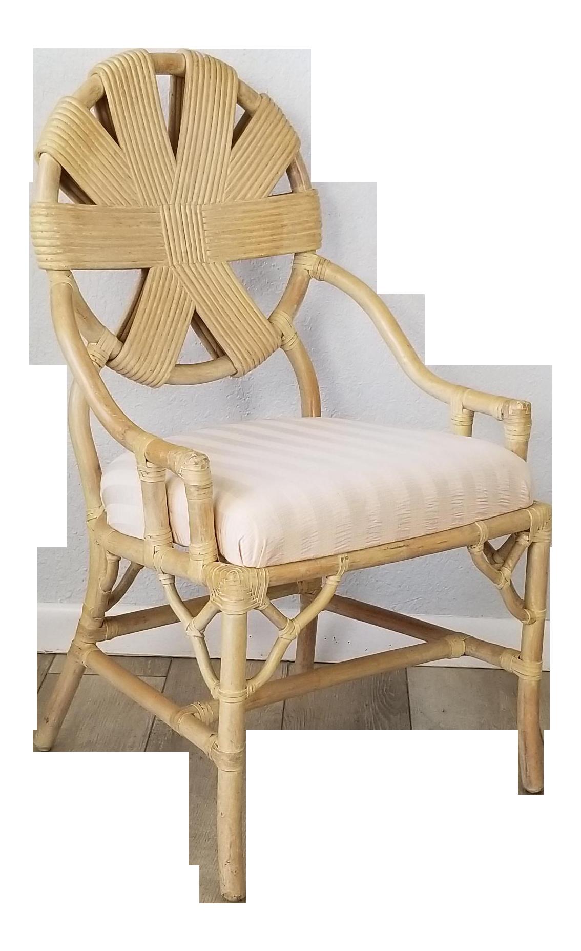Vintage Rattan Accent / Desk Chair .