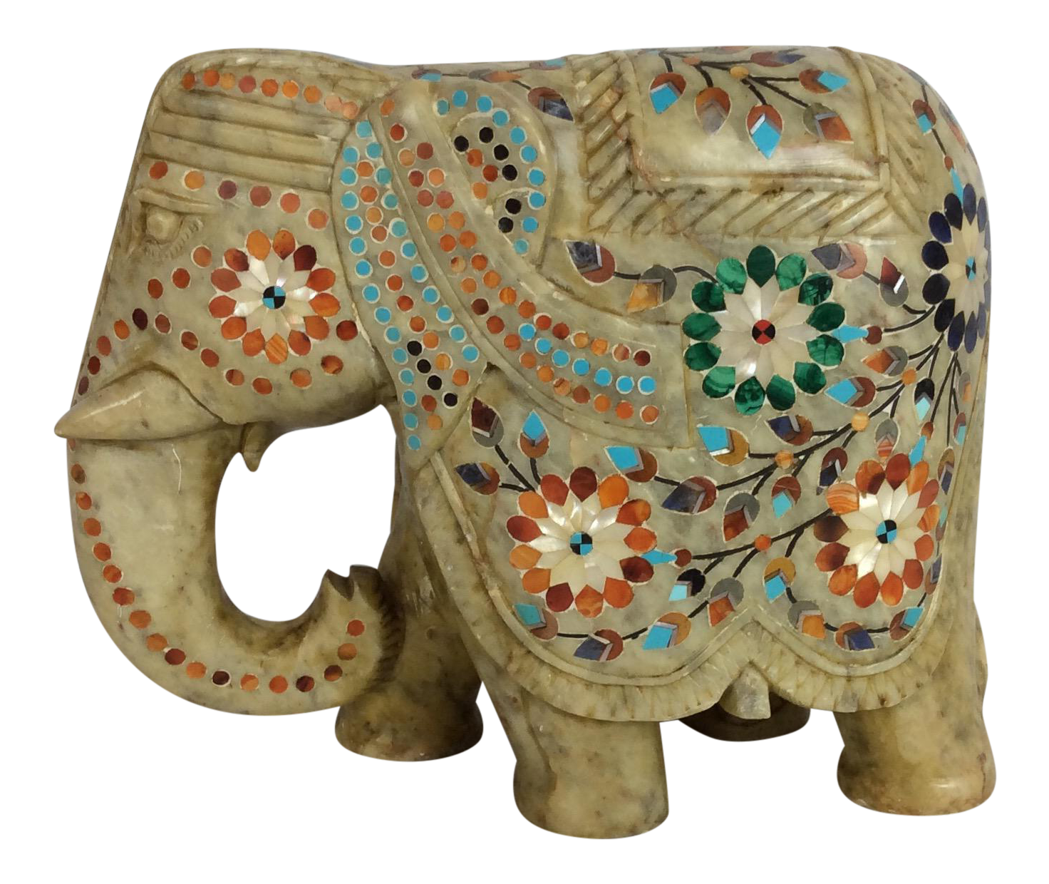 Engraved Limestone Inlay : Carved marble elephant with inlaid precocious stone chairish